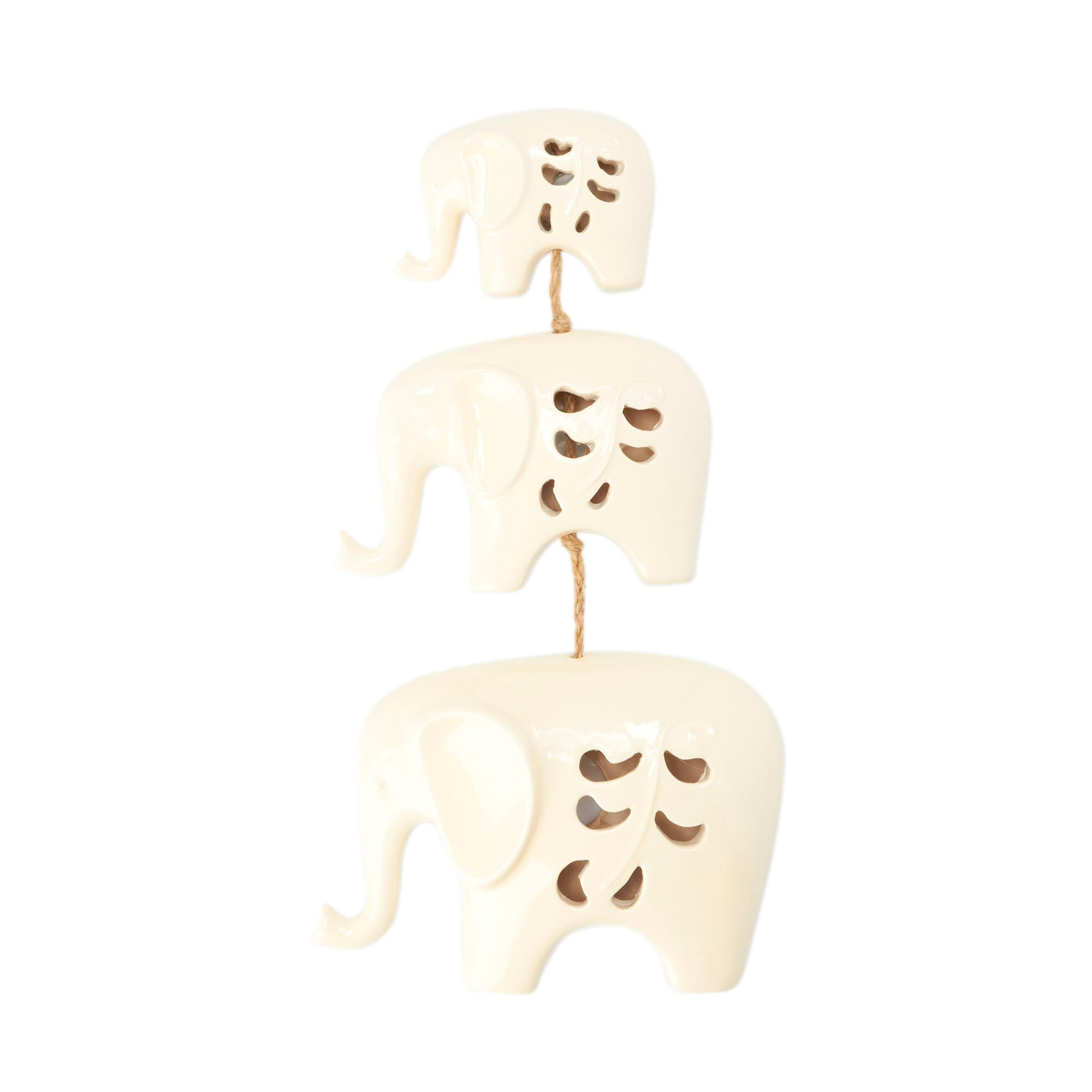 Set of 3 Ceramic Elephant Wall Art