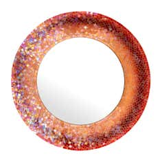 Red Mosaic Round Mirror