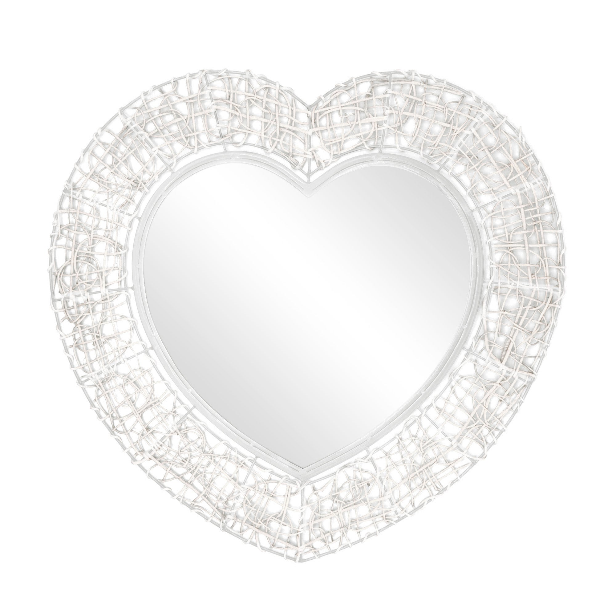 Wicker Heart Mirror