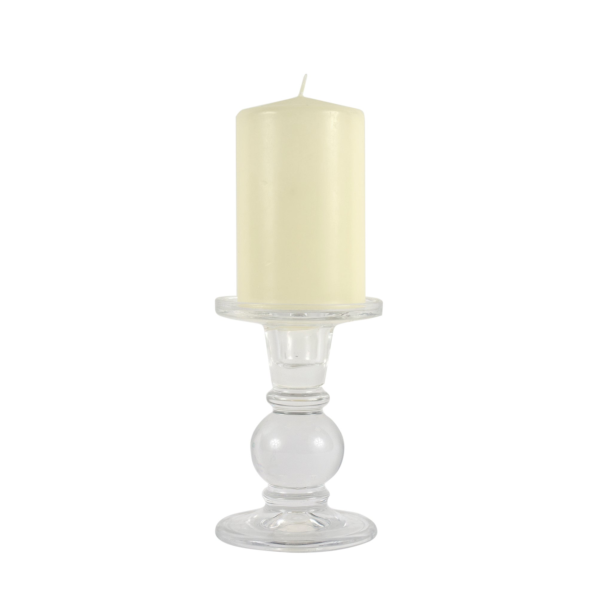 Glass Candle Holder and Pillar Candle