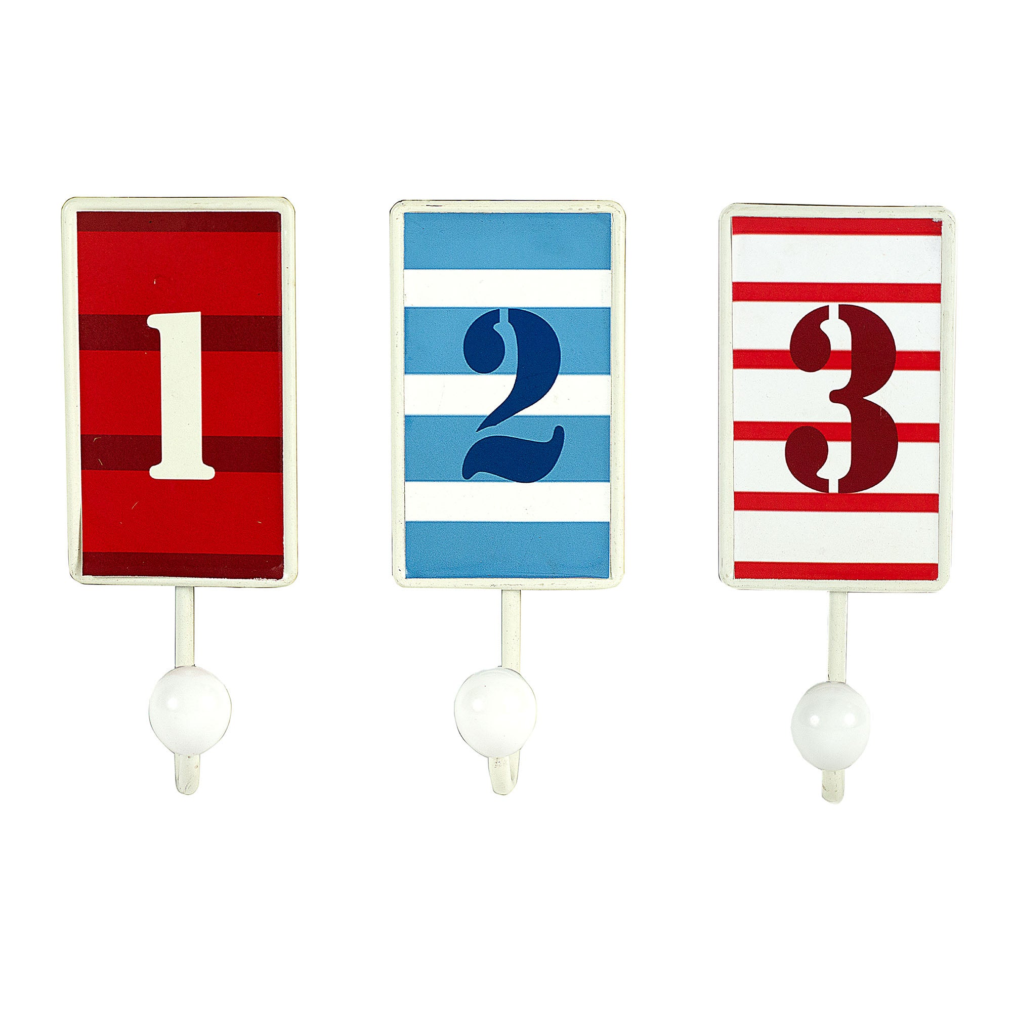 Hamptons Set of Three Number Hooks