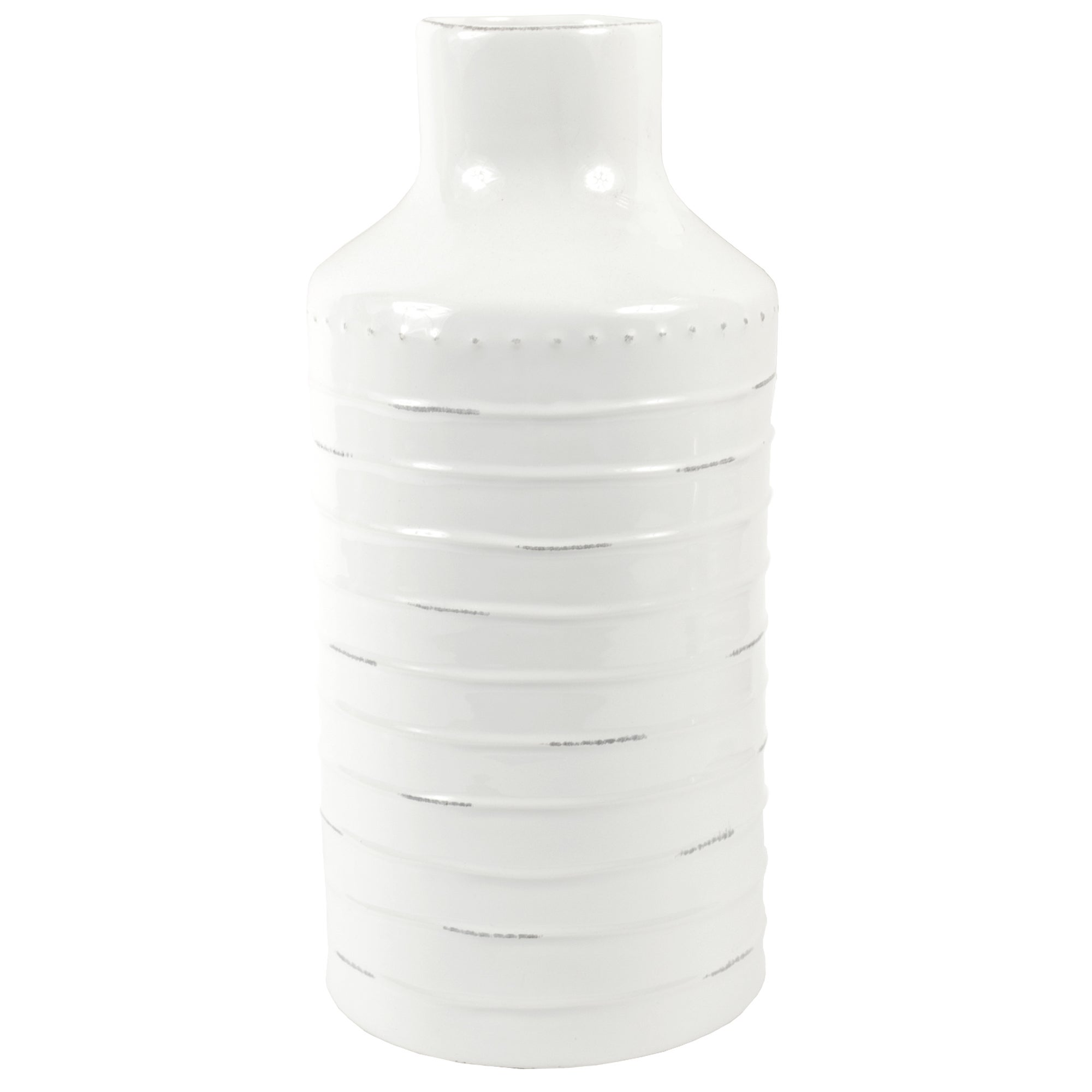 The Hamptons Collection White Large Ridged Bottle Vase