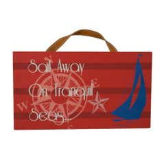 Hamptons Sail Away Hanging Plaque