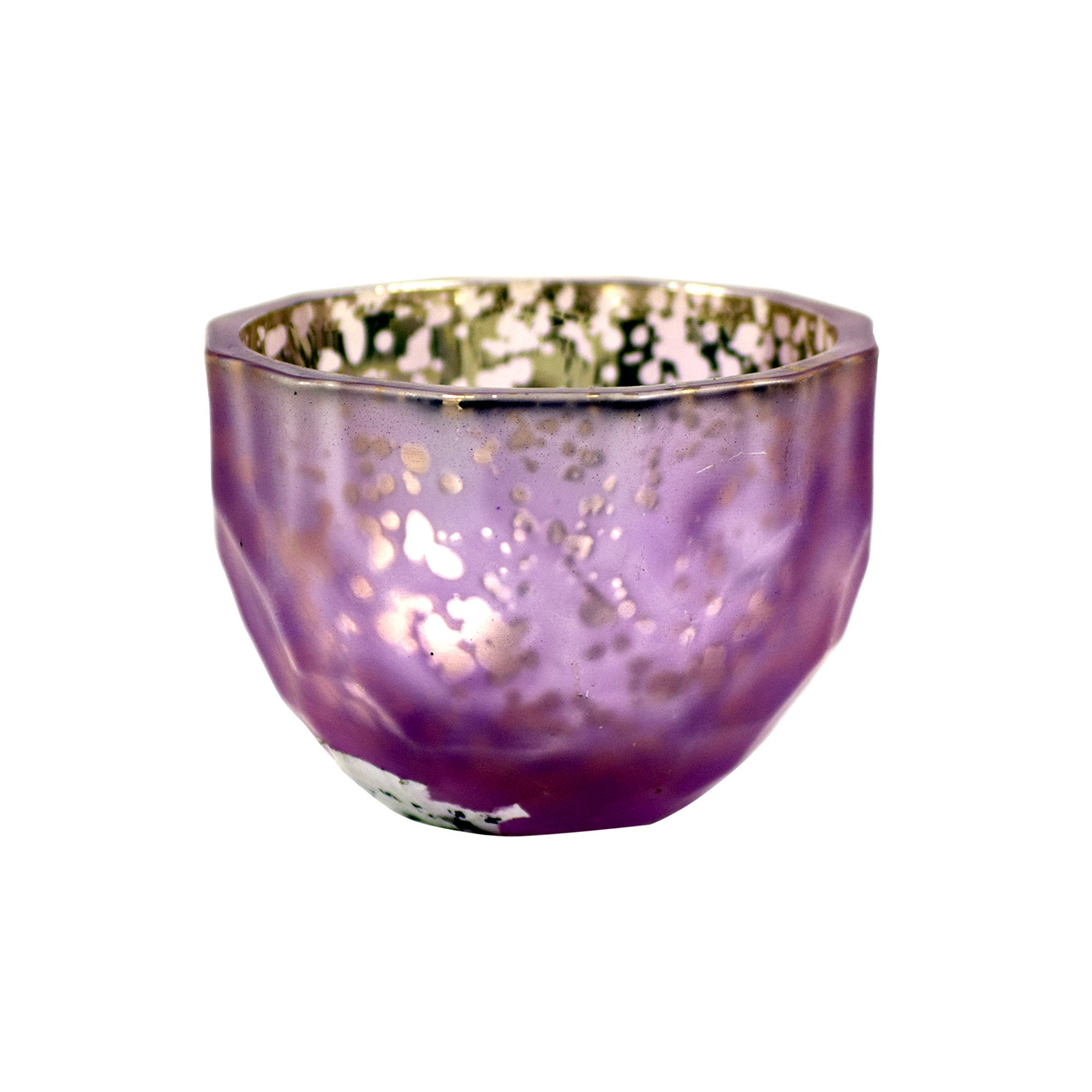 Maison Chique Mauve Metallic Crackle Tea Light Holder
