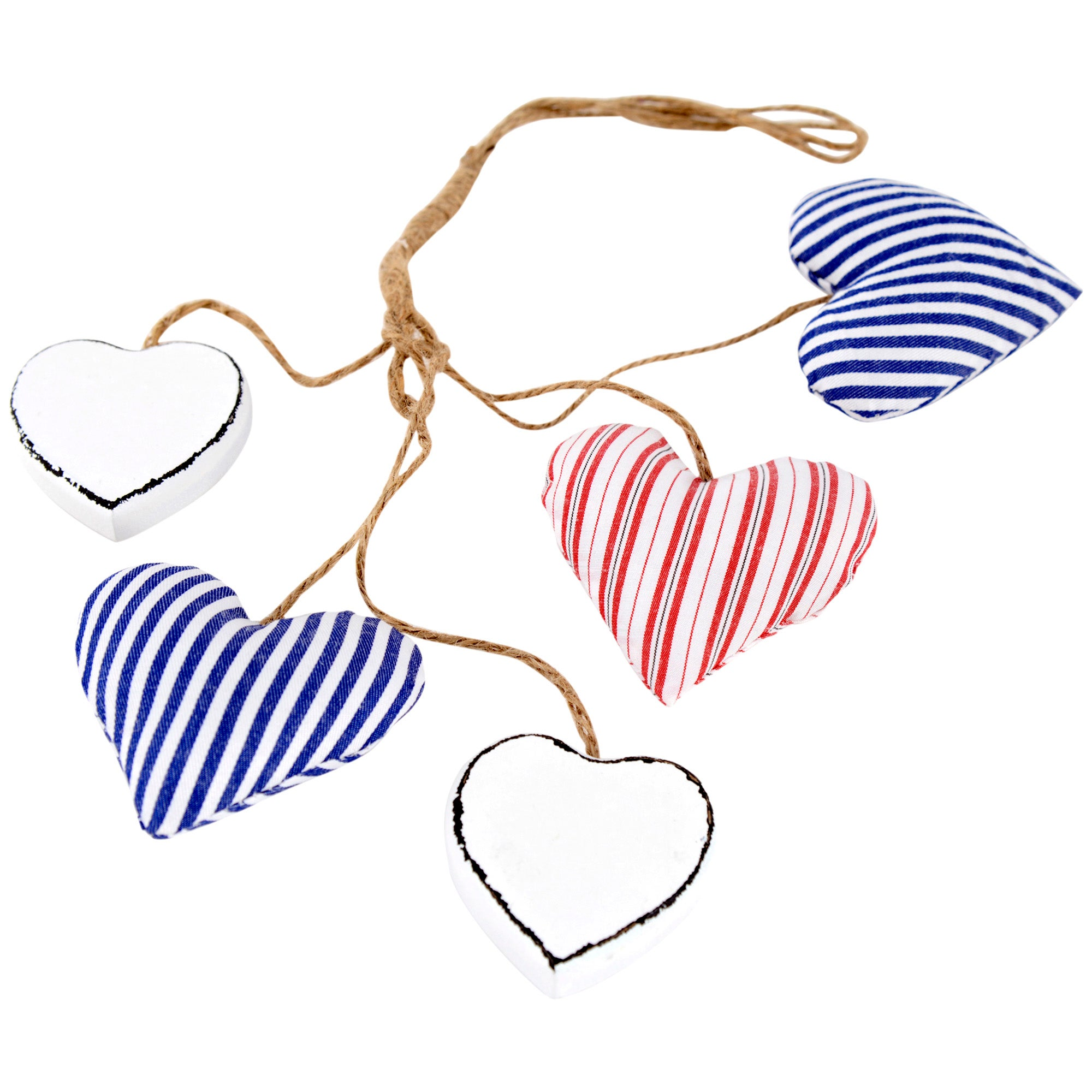 Hamptons Collection Hanging Fabric & Wood Hearts