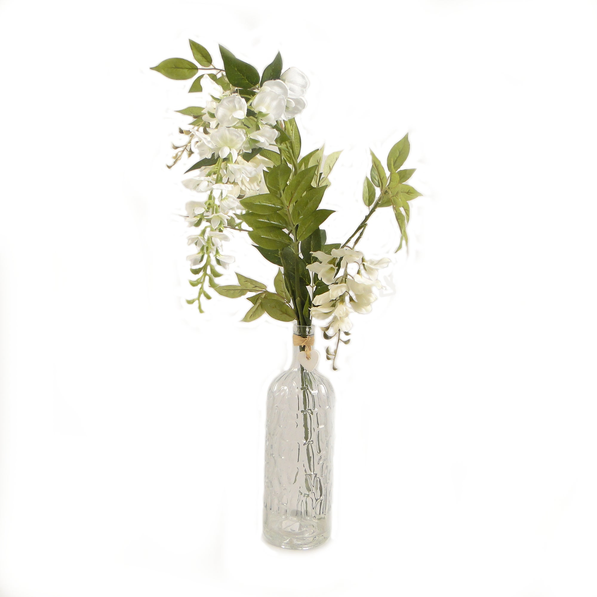 Artificial Cream Wisteria in a Glass Bottle