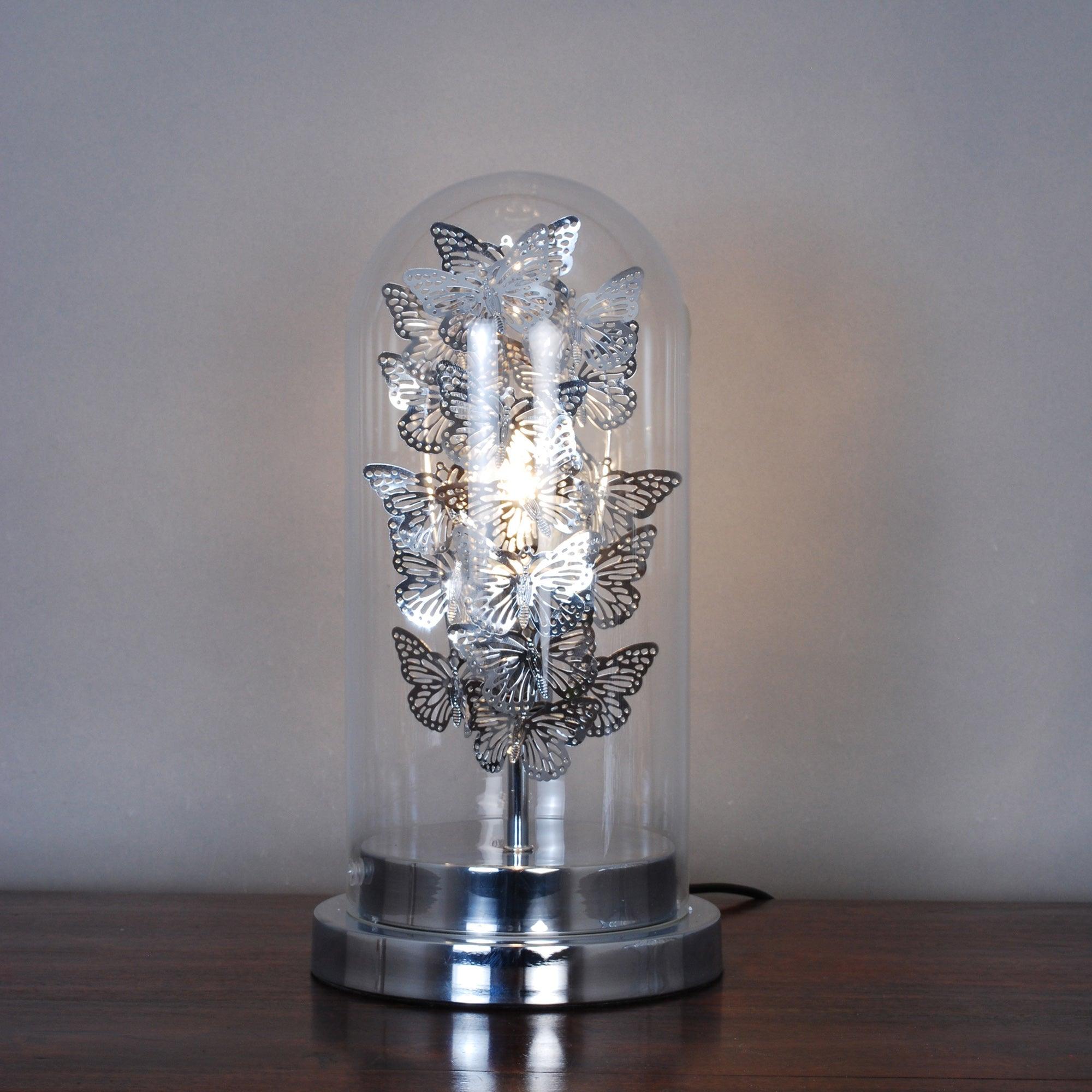 Butterfly Bell Jar Table Lamp