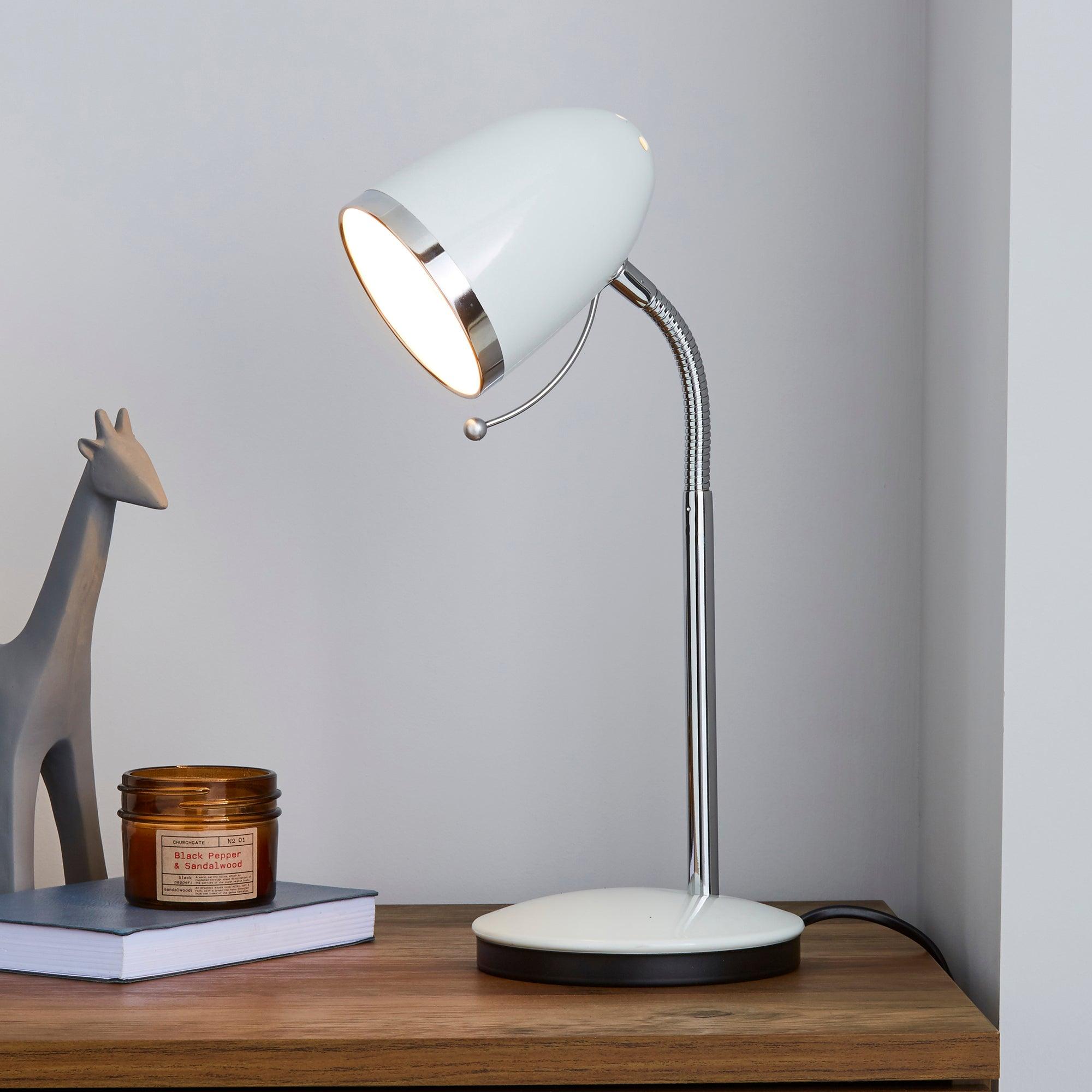 white desk lamp with chrome ring dunelm. Black Bedroom Furniture Sets. Home Design Ideas