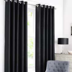 Black Dakota Lined Eyelet Curtains