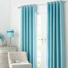 Duck Egg Dakota Lined Eyelet Curtains