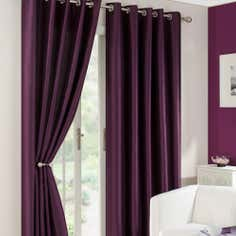 Plum Dakota Lined Eyelet Curtains