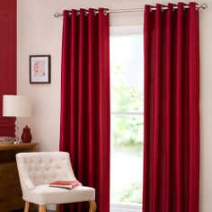 Red Dakota Lined Eyelet Curtains