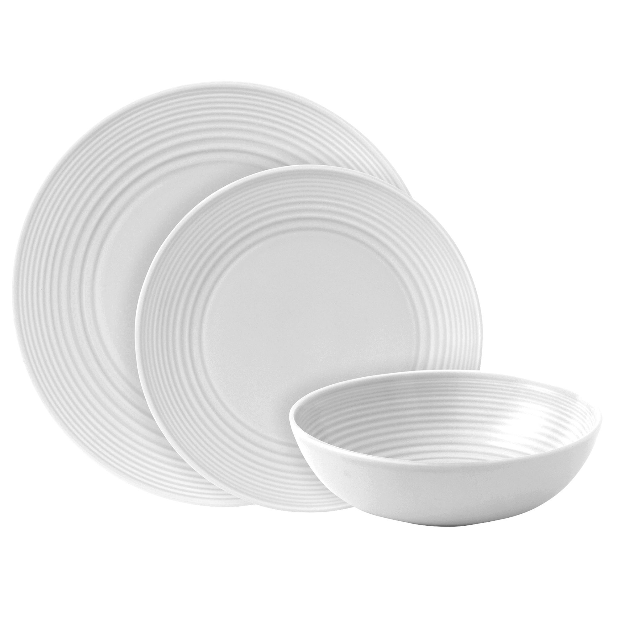 White Gordon Ramsay Maze Collection 12 Piece Dinner Set