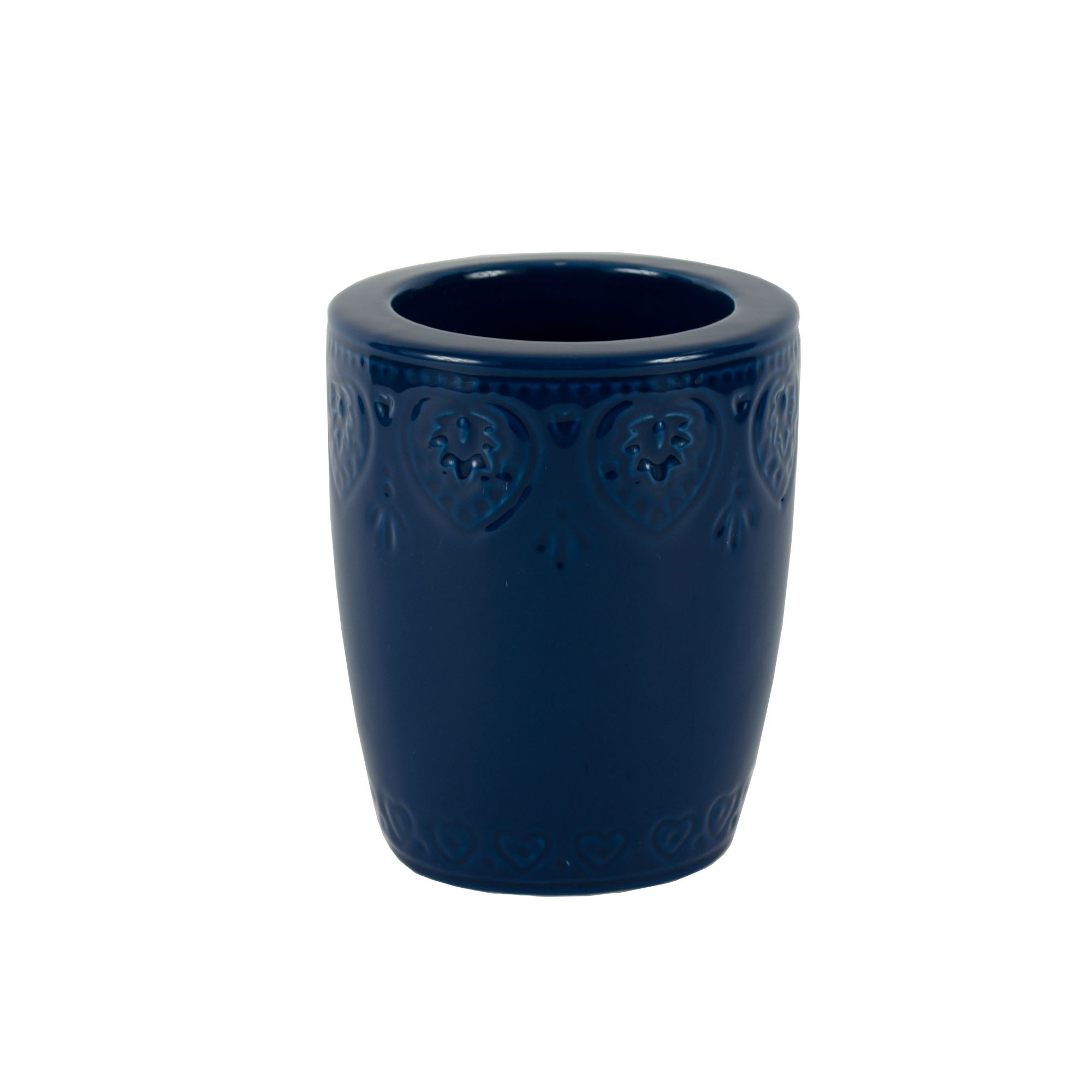 Blue Embossed Heart Collection Toilet Brush Holder