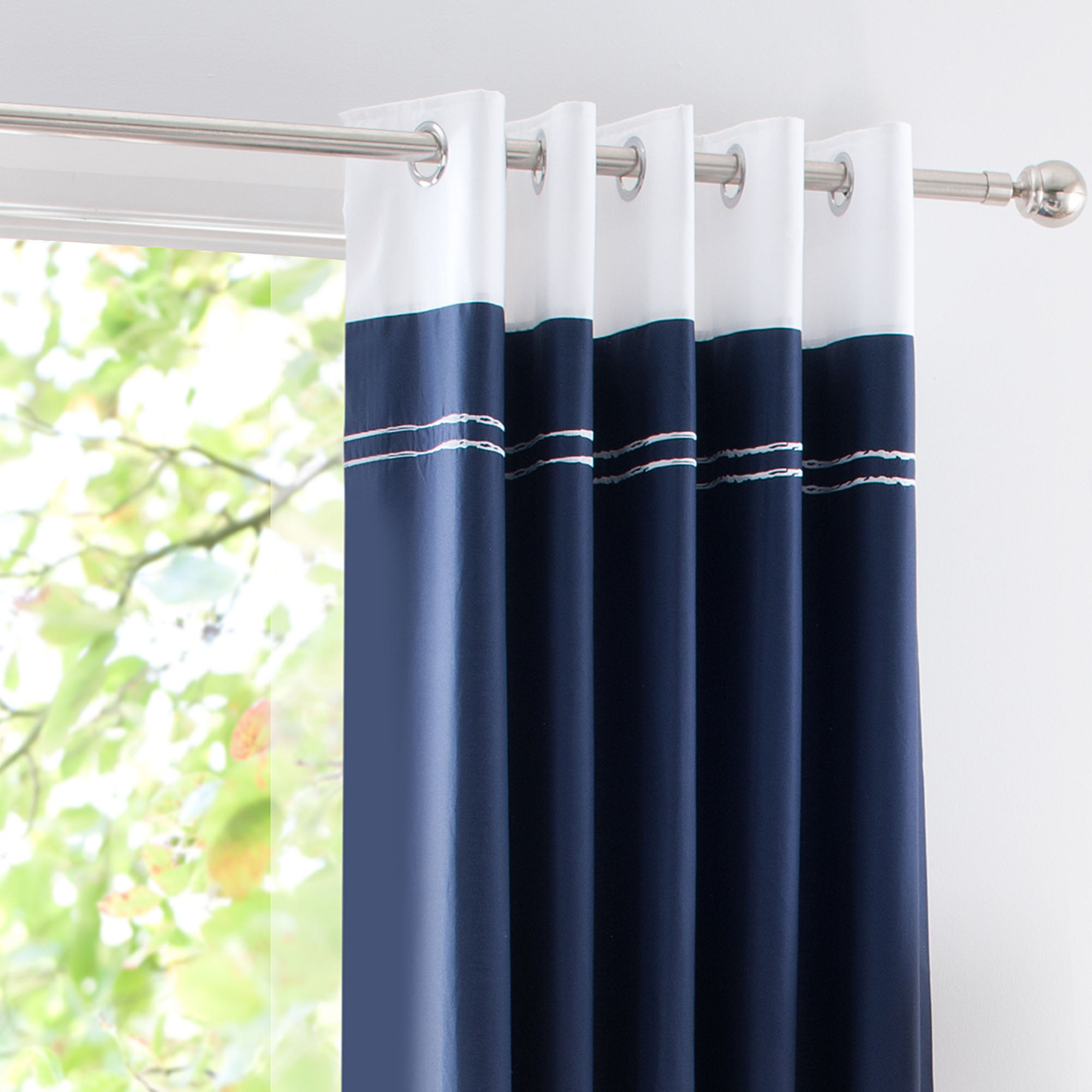 navy hampton thermal eyelet curtains dunelm. Black Bedroom Furniture Sets. Home Design Ideas