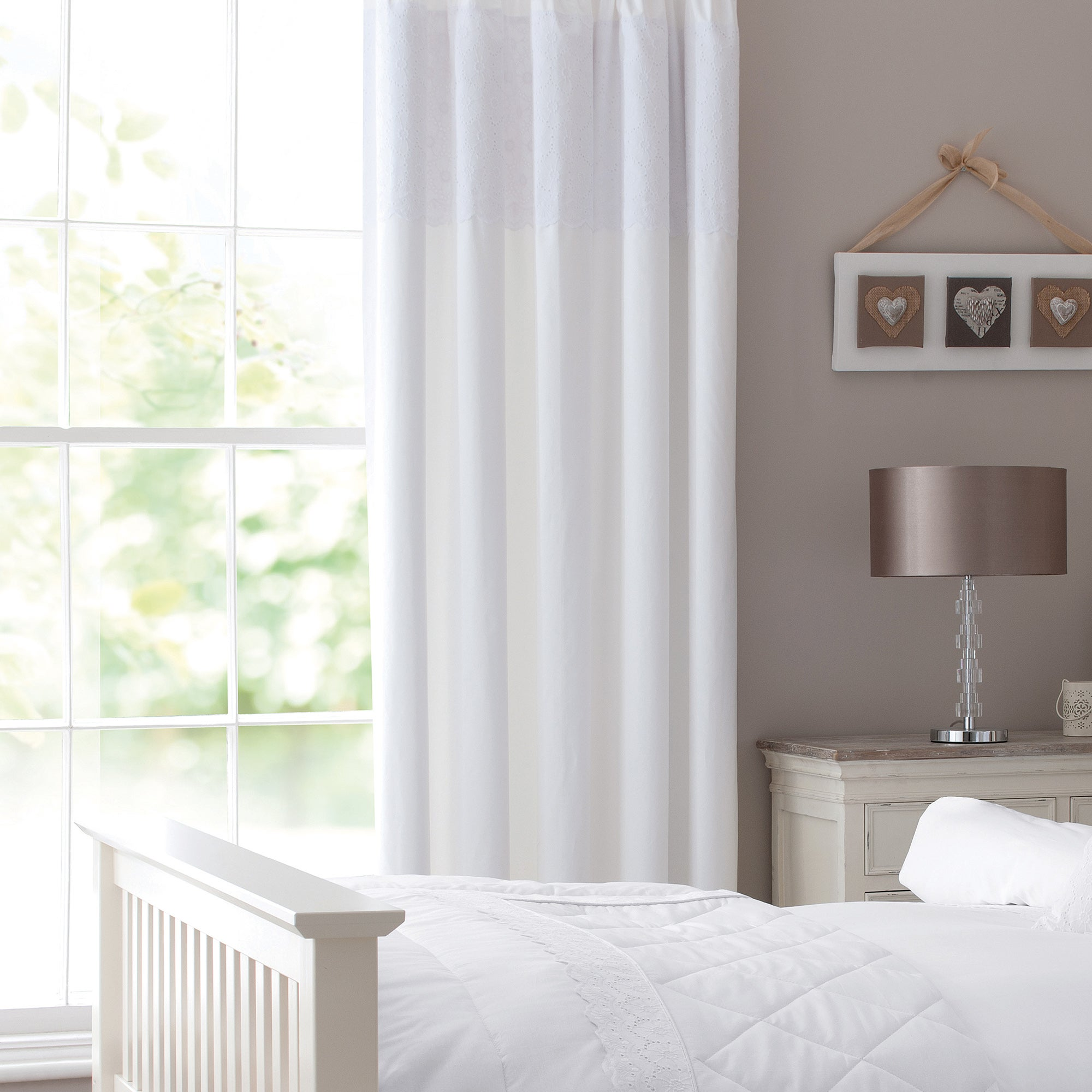 White Leighton Lined Pencil Pleat Curtains