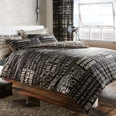 Black Good Morning Collection Duvet Cover Set