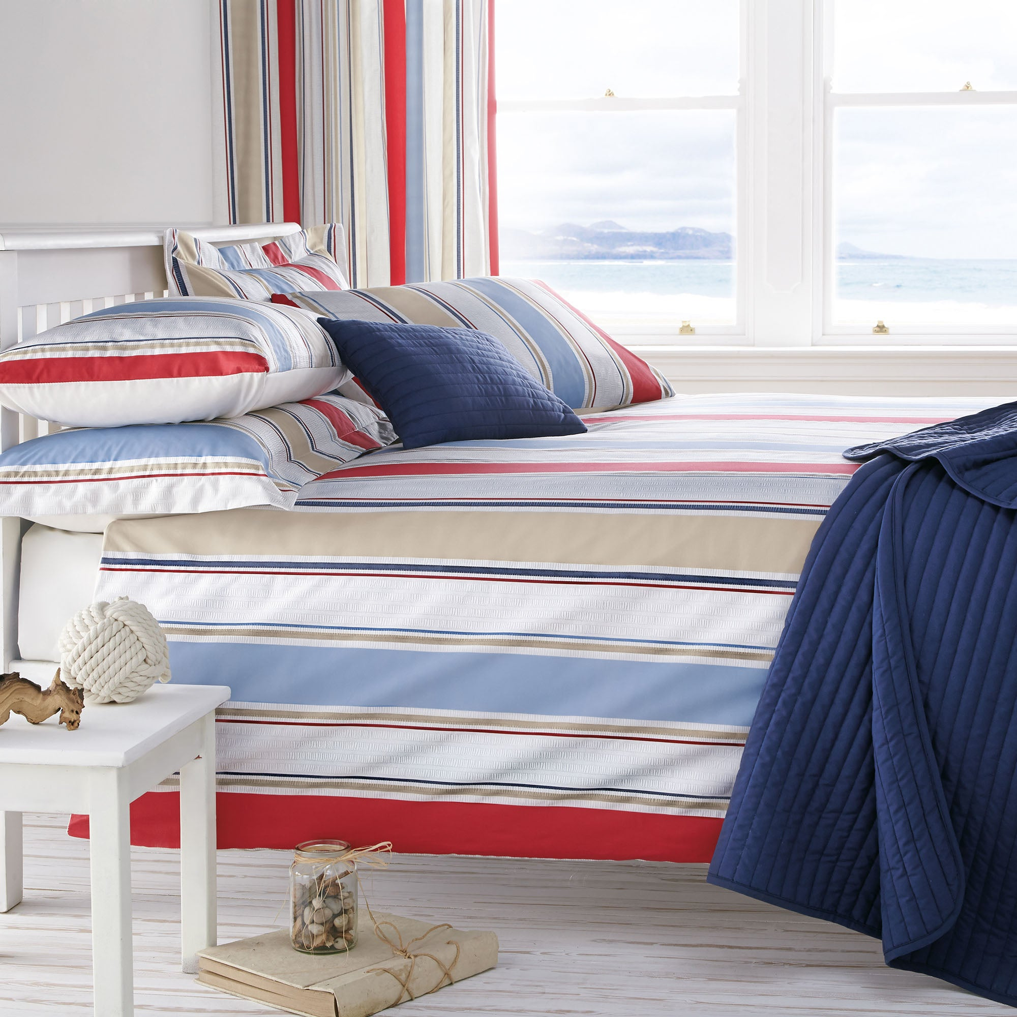 Blue Nautica Stripe Collection Duvet Cover Set