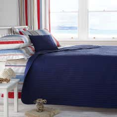 Blue Nautica Stripe Collection Bedspread