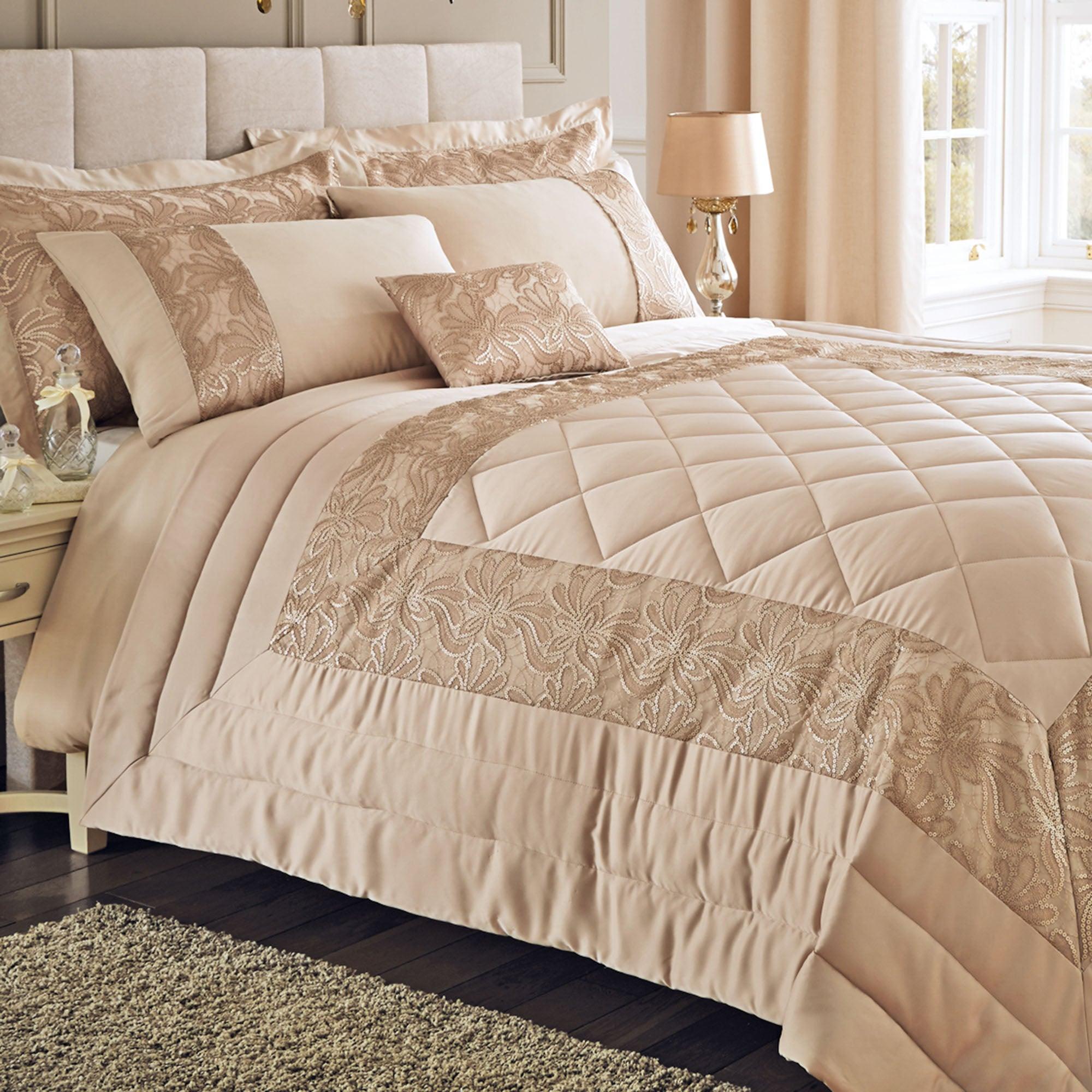 gold zetta collection bedspread dunelm. Black Bedroom Furniture Sets. Home Design Ideas
