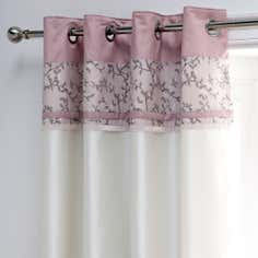 Dusky Pink Chinoiserie Thermal Eyelet Curtains