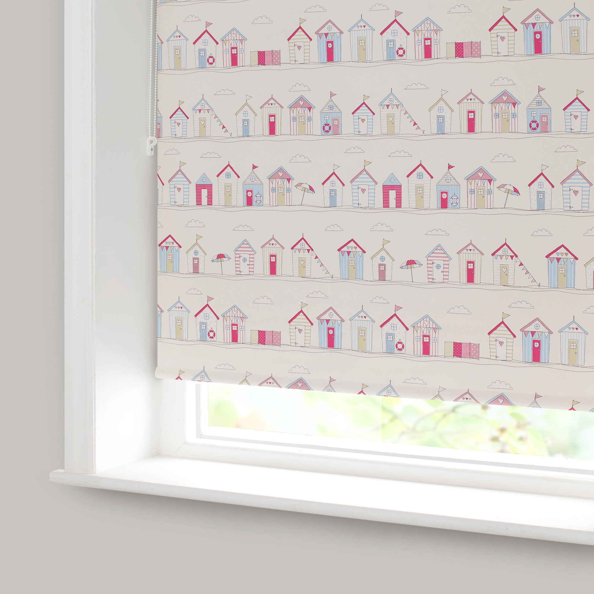 Beach Huts Pink Blackout Roller Blind