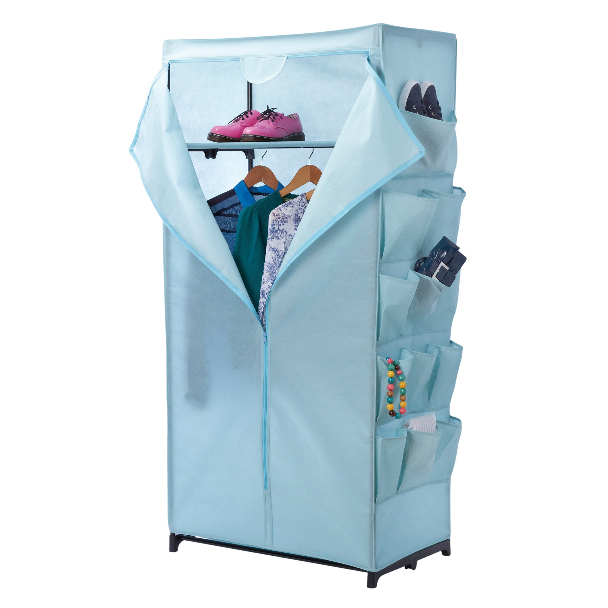 Duck egg wardrobe with pockets dunelm for Space fabric dunelm
