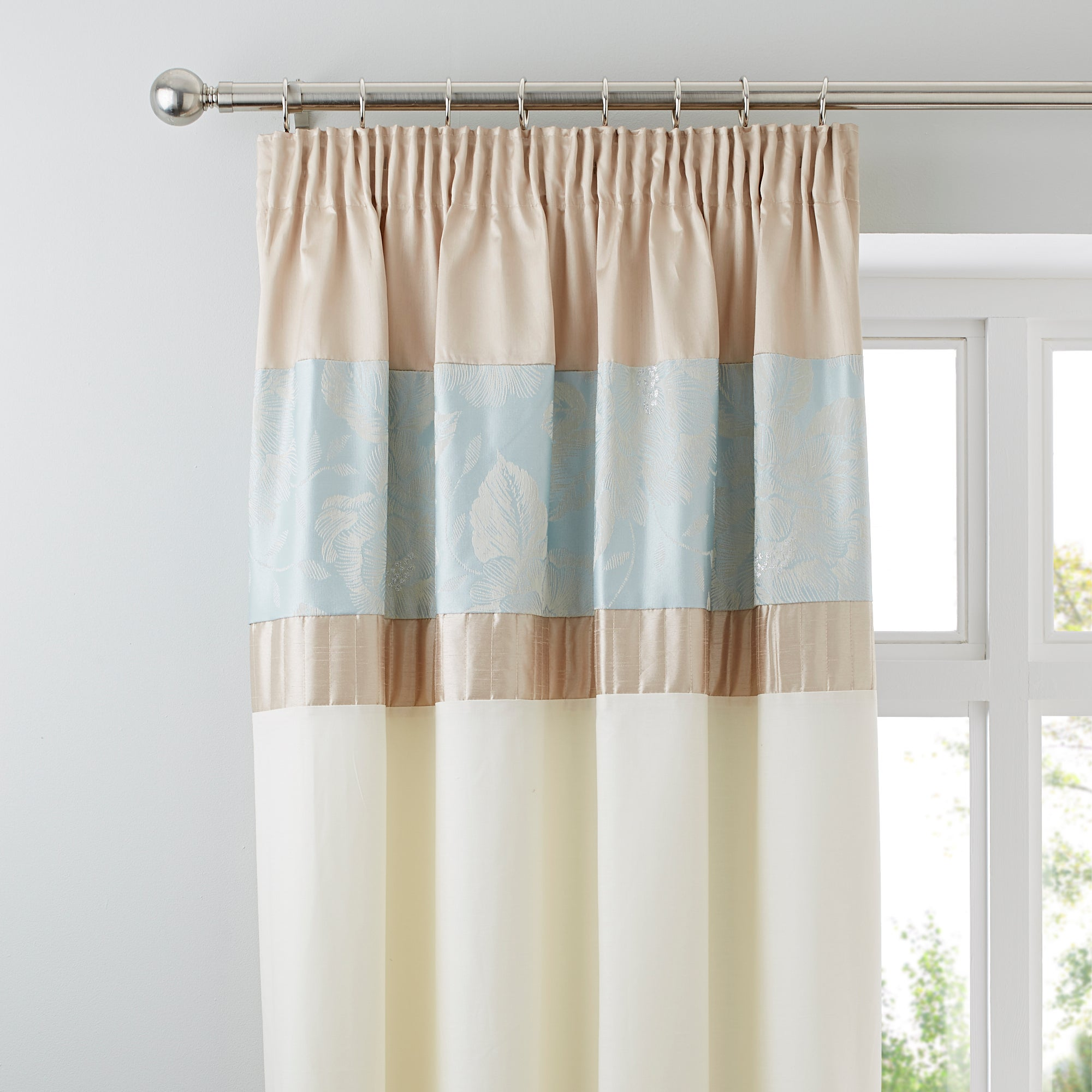 Duck Egg Olivia Thermal Pencil Pleat Curtains