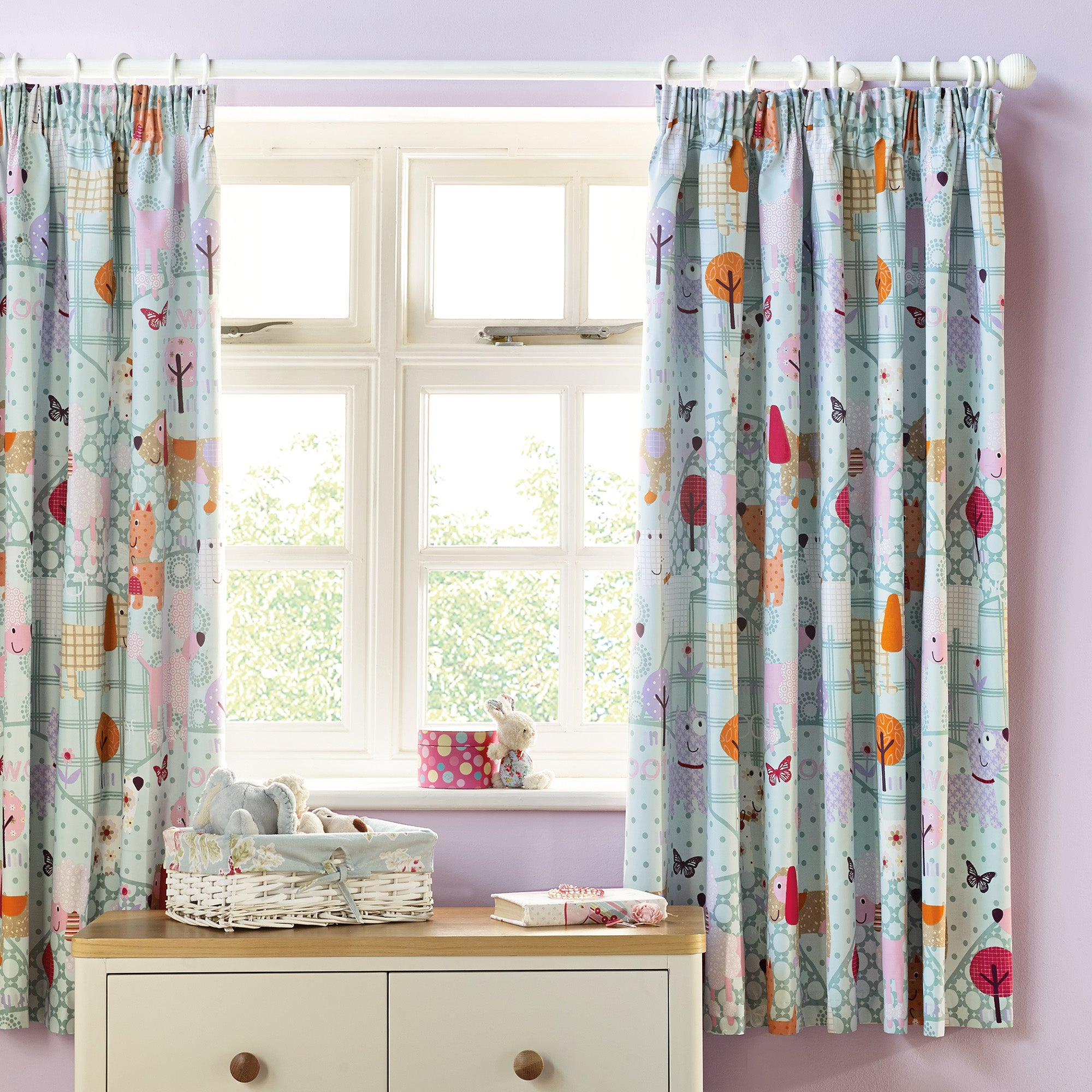 Kids Fifi and Friends Blackout Pencil Pleat Curtains