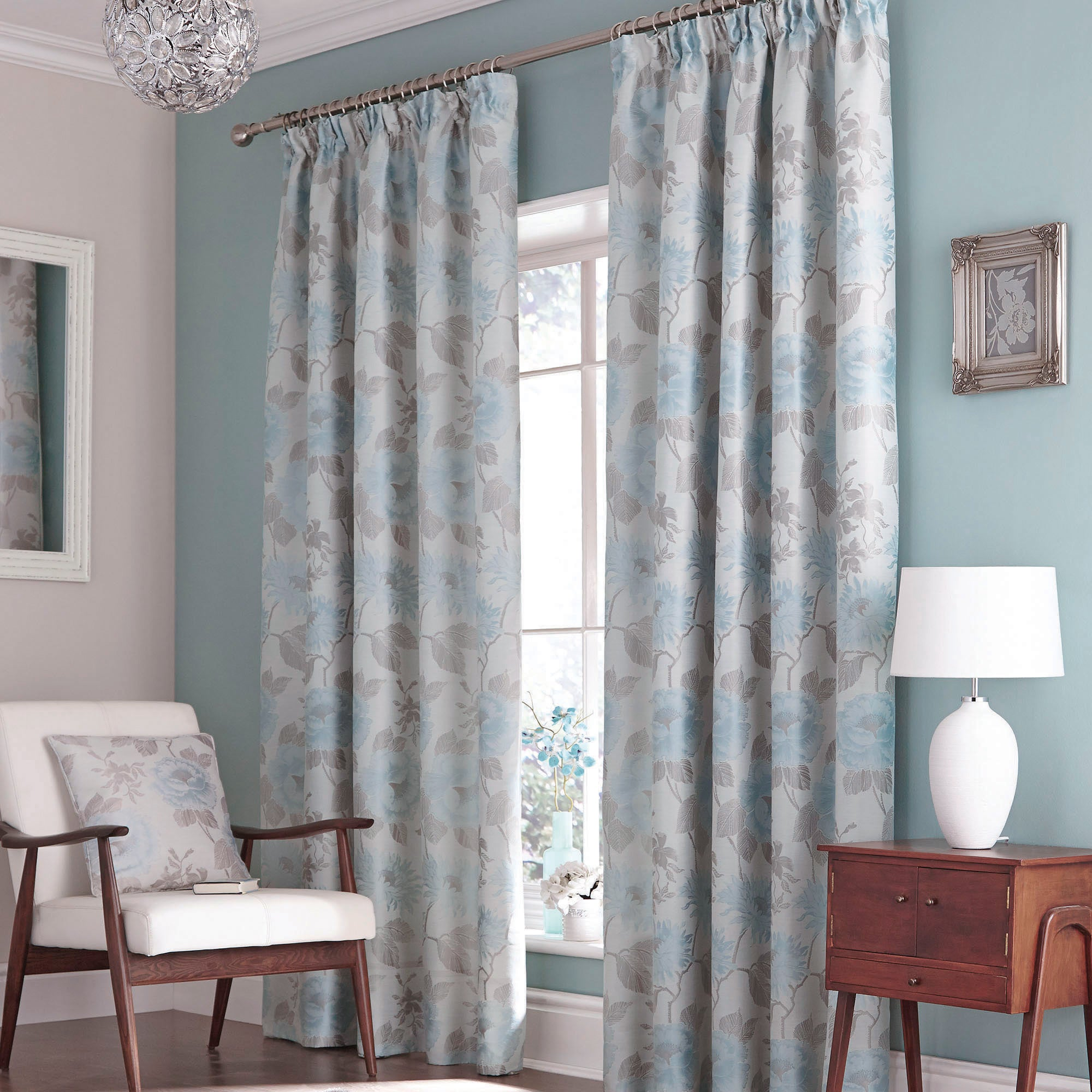 Duck Egg Rosa Thermal Pencil Pleat Curtains