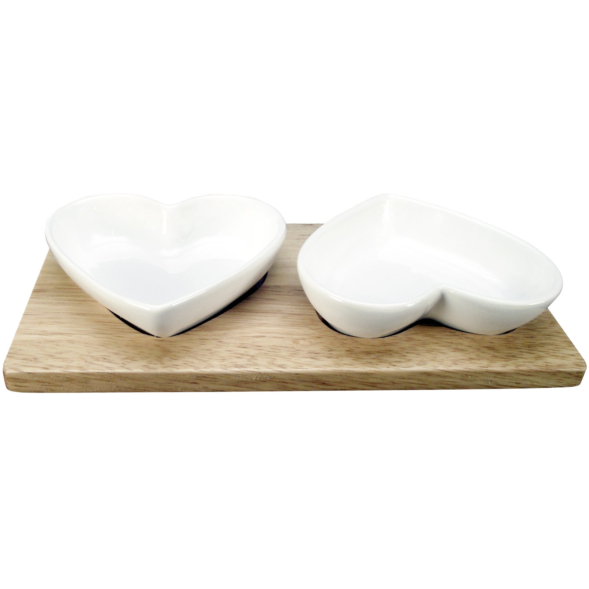 Country Heart Collection Pair of Dip Dishes on a Wooden Plinth