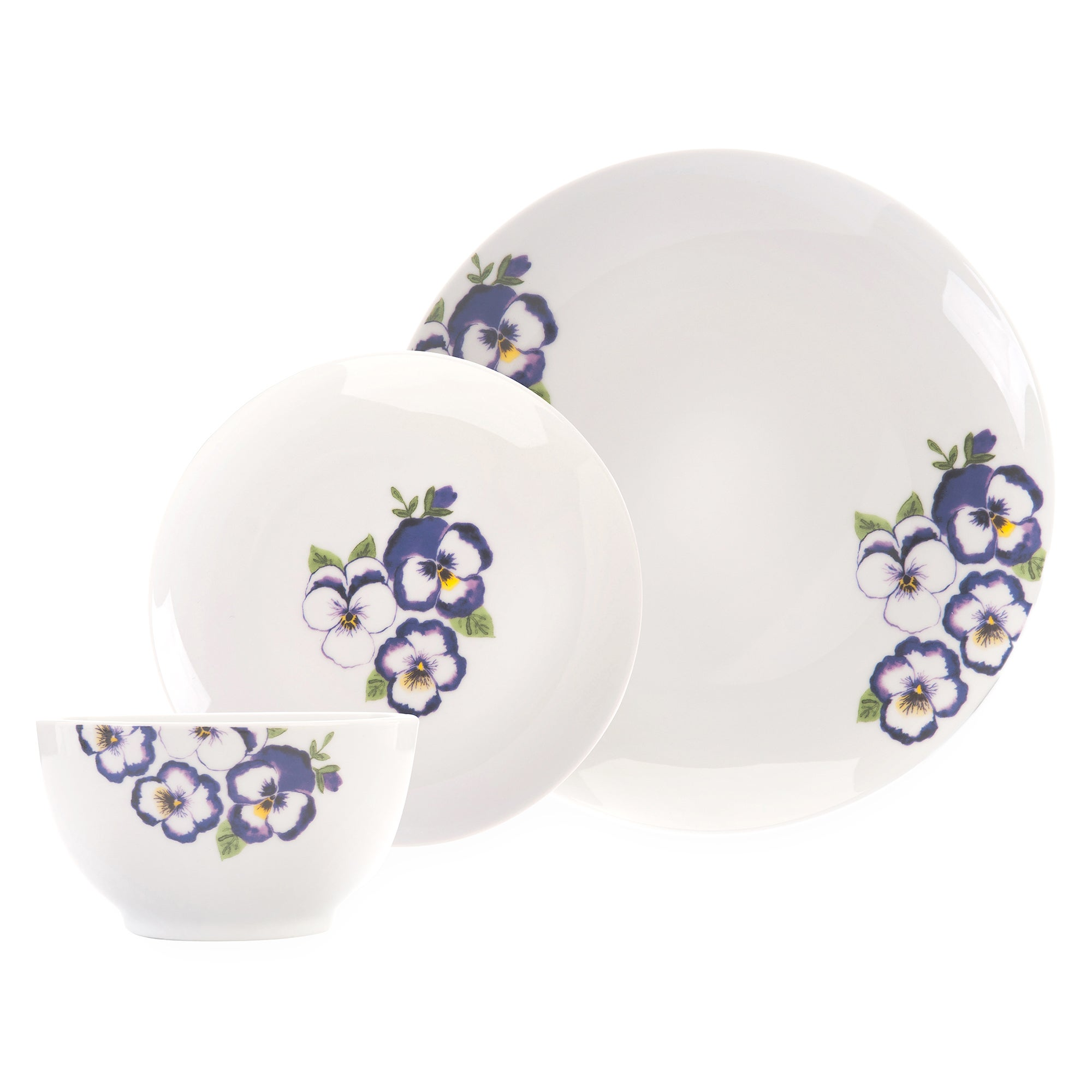 Purple Pansy Collection 12 Piece Dinner Set