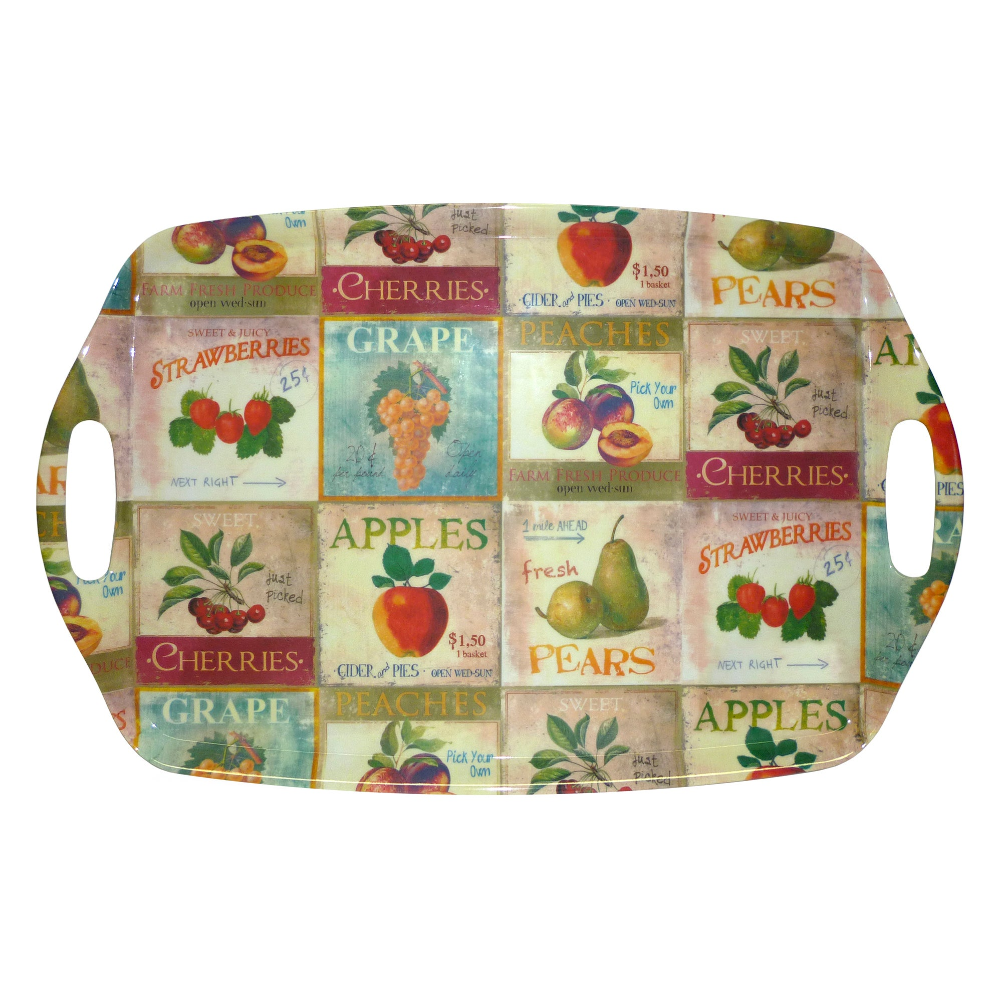 Retro Fruit Collection Handled Tray