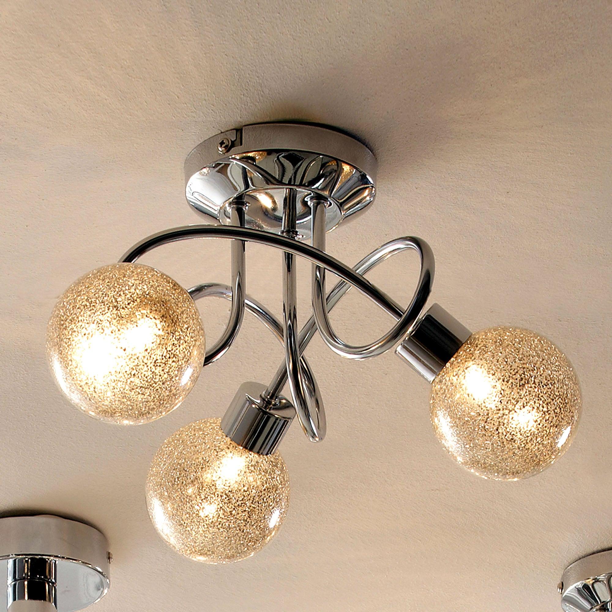Glitter Ball 3 Light Chrome Ceiling Fitting