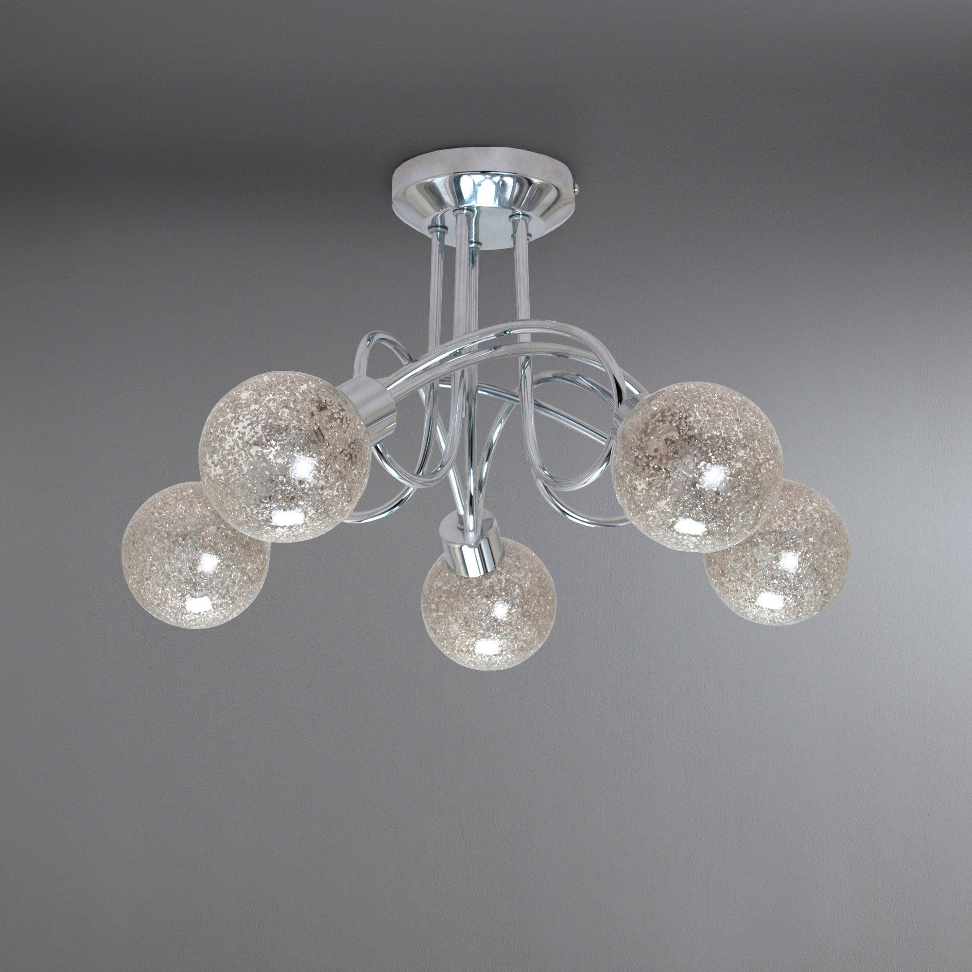 Glitter Ball 5 Light Chrome Ceiling Fitting Dunelm