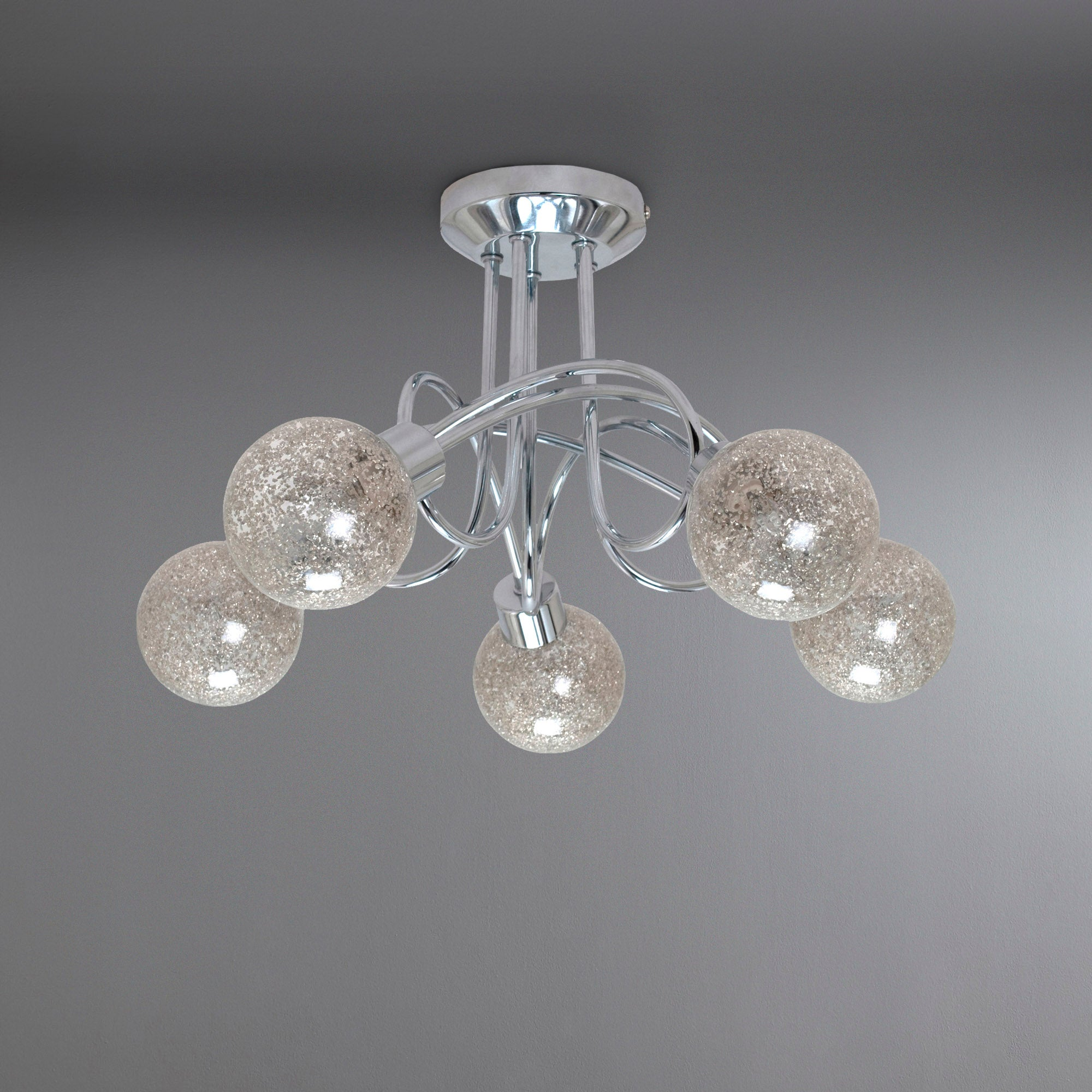 Glitter Ball 5 Light Chrome Ceiling Fitting