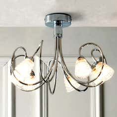 Squiggle 7 Light Semi Flush Fitting