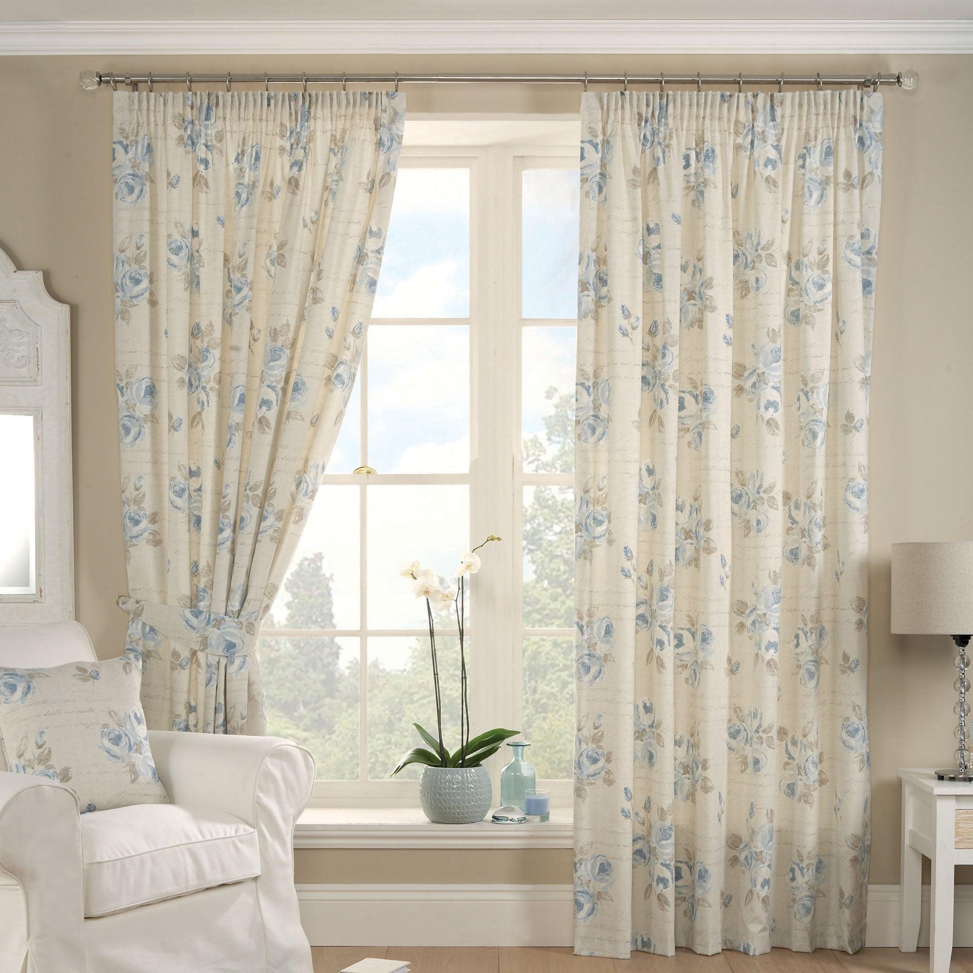 Blue Francesca Lined Pencil Pleat Curtains