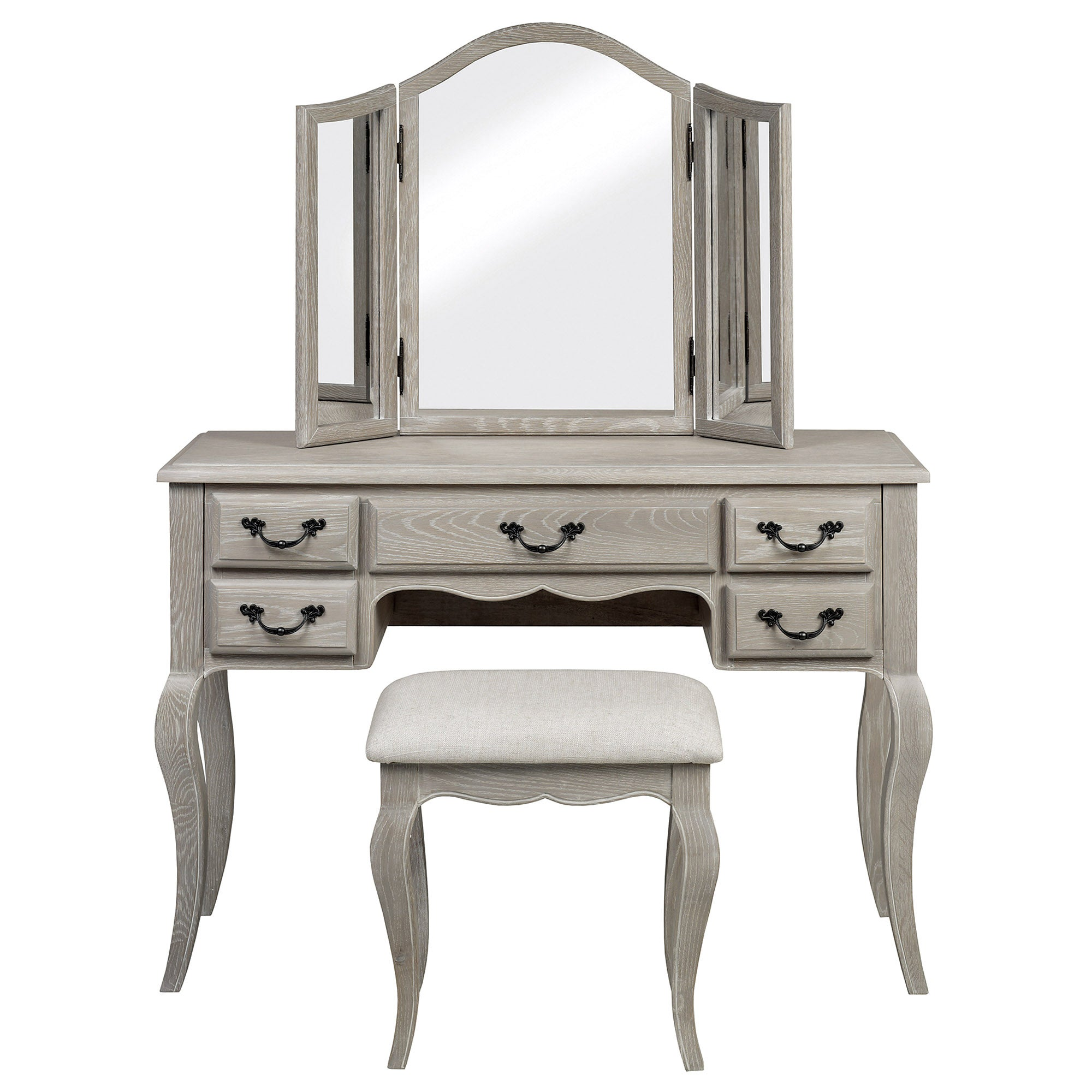 Annabelle Grey Wash Oak Dressing Table Set