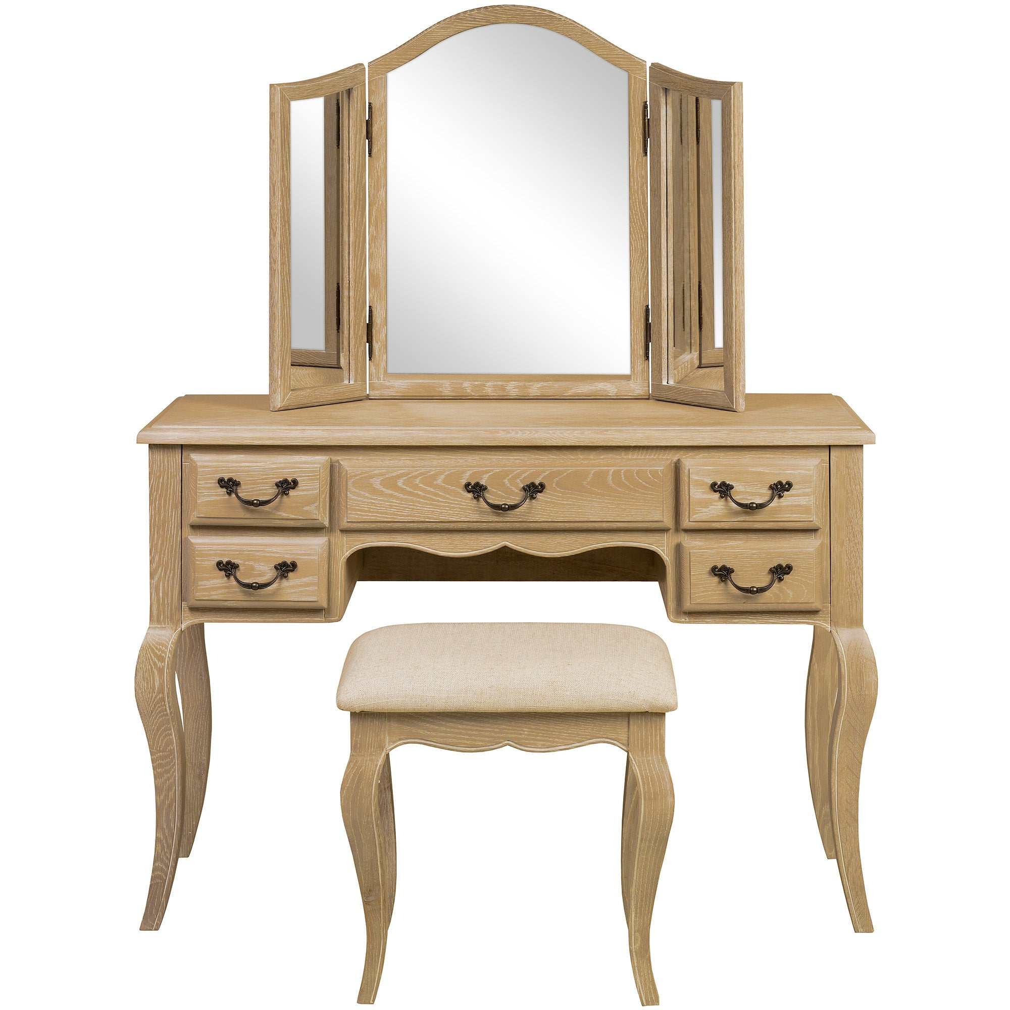 Annabelle Natural Oak Dressing Table Set