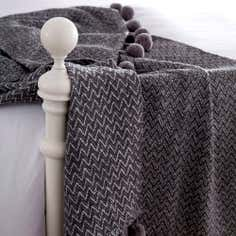 Herringbone Pom Pom Throw
