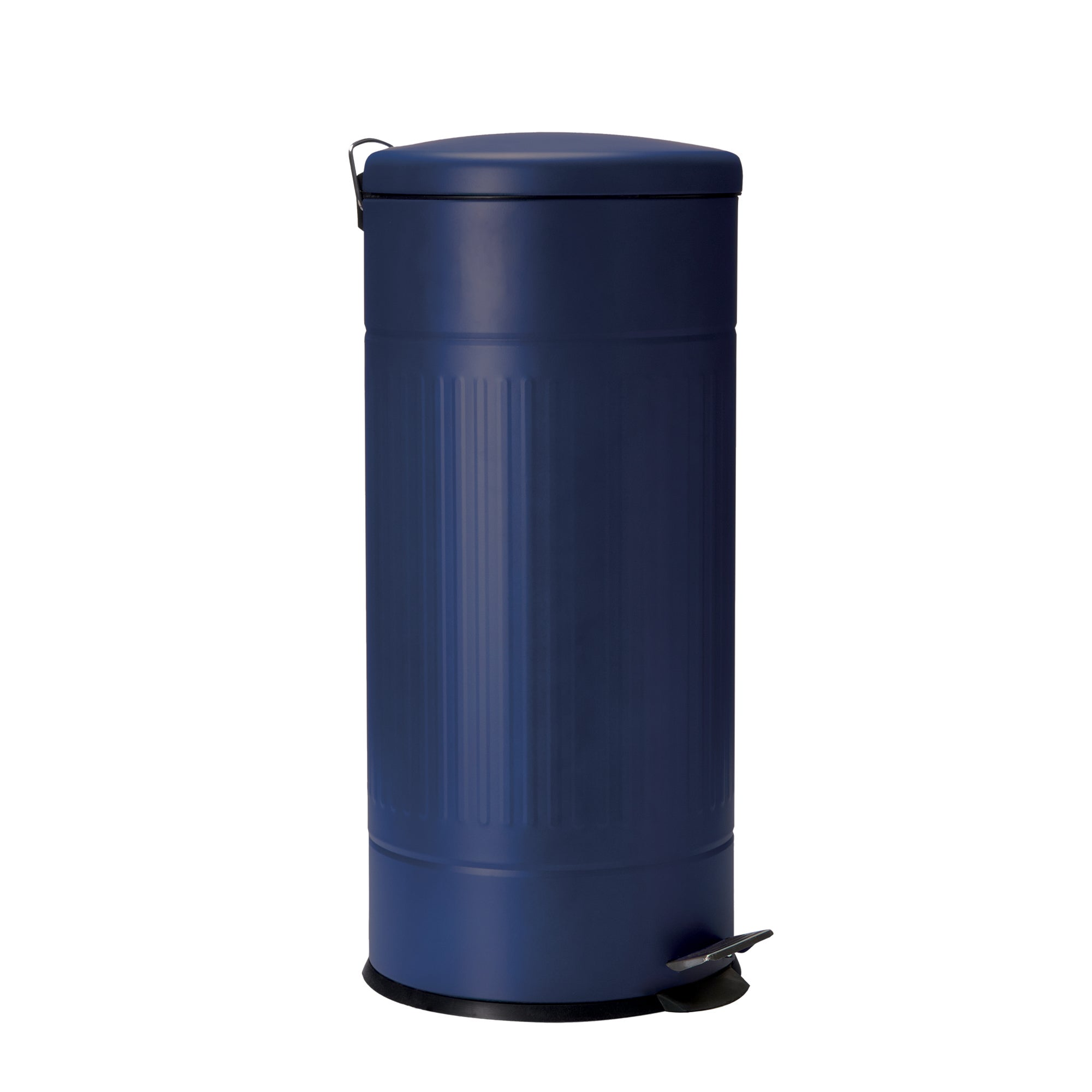 Blue Hamptons Collection 30L Ribbed Steel Pedal Bin