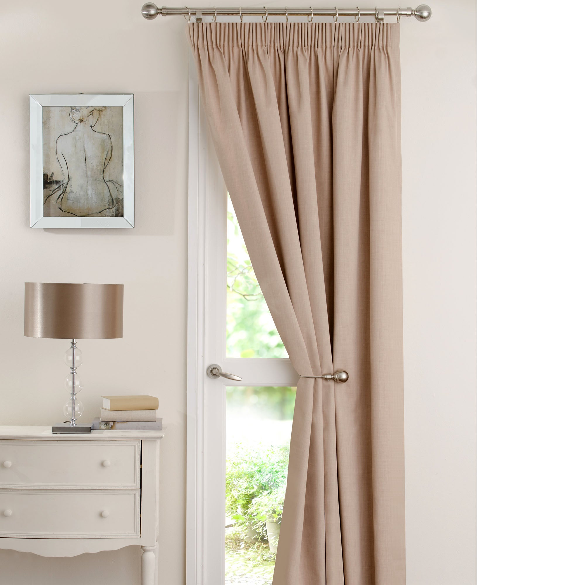 Natural Solar Thermal Pencil Pleat Door Curtain