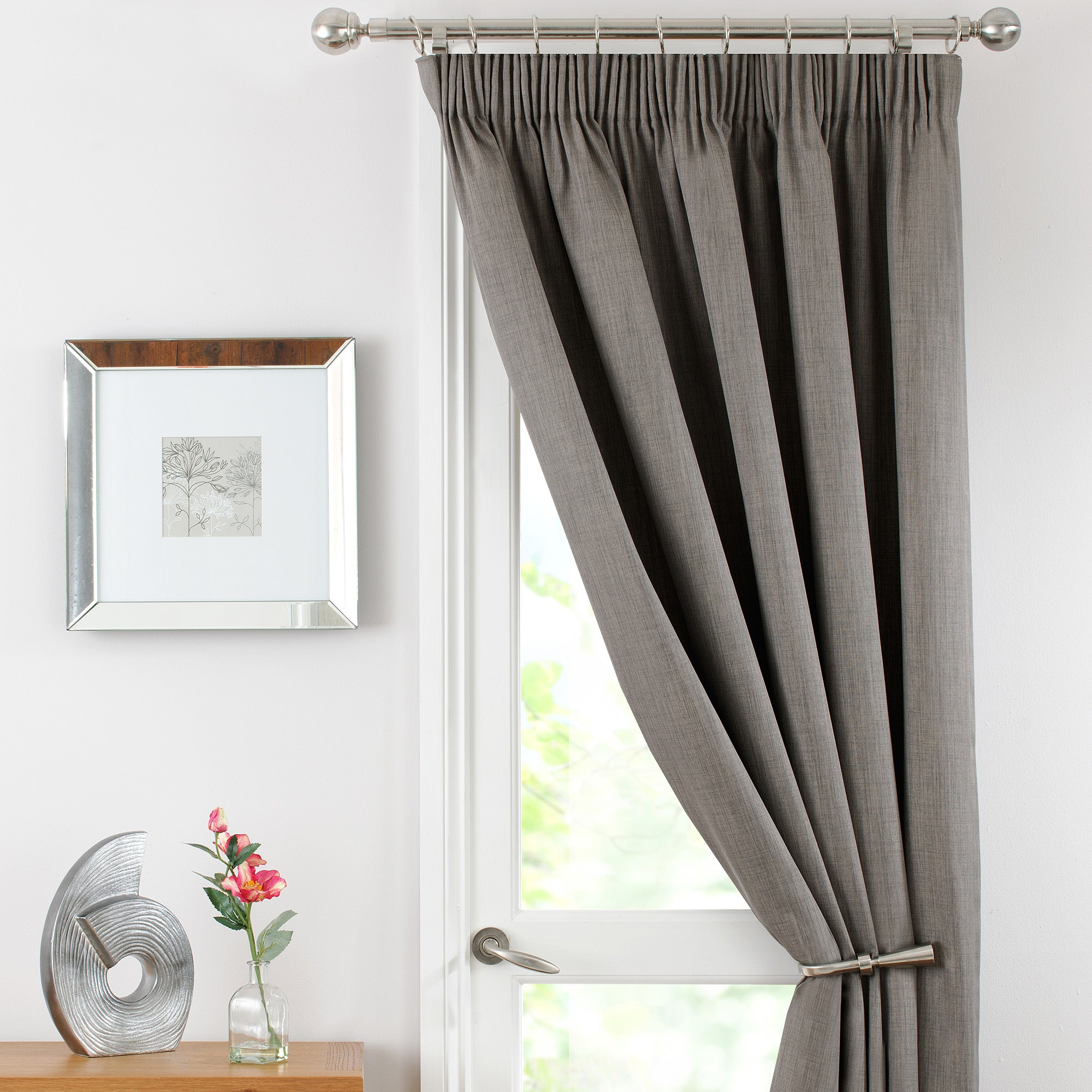 Stone Solar Thermal Pencil Pleat Door Curtain