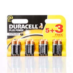 Duracell Plus Power Pack of 5 AA Batteries with 3 Free