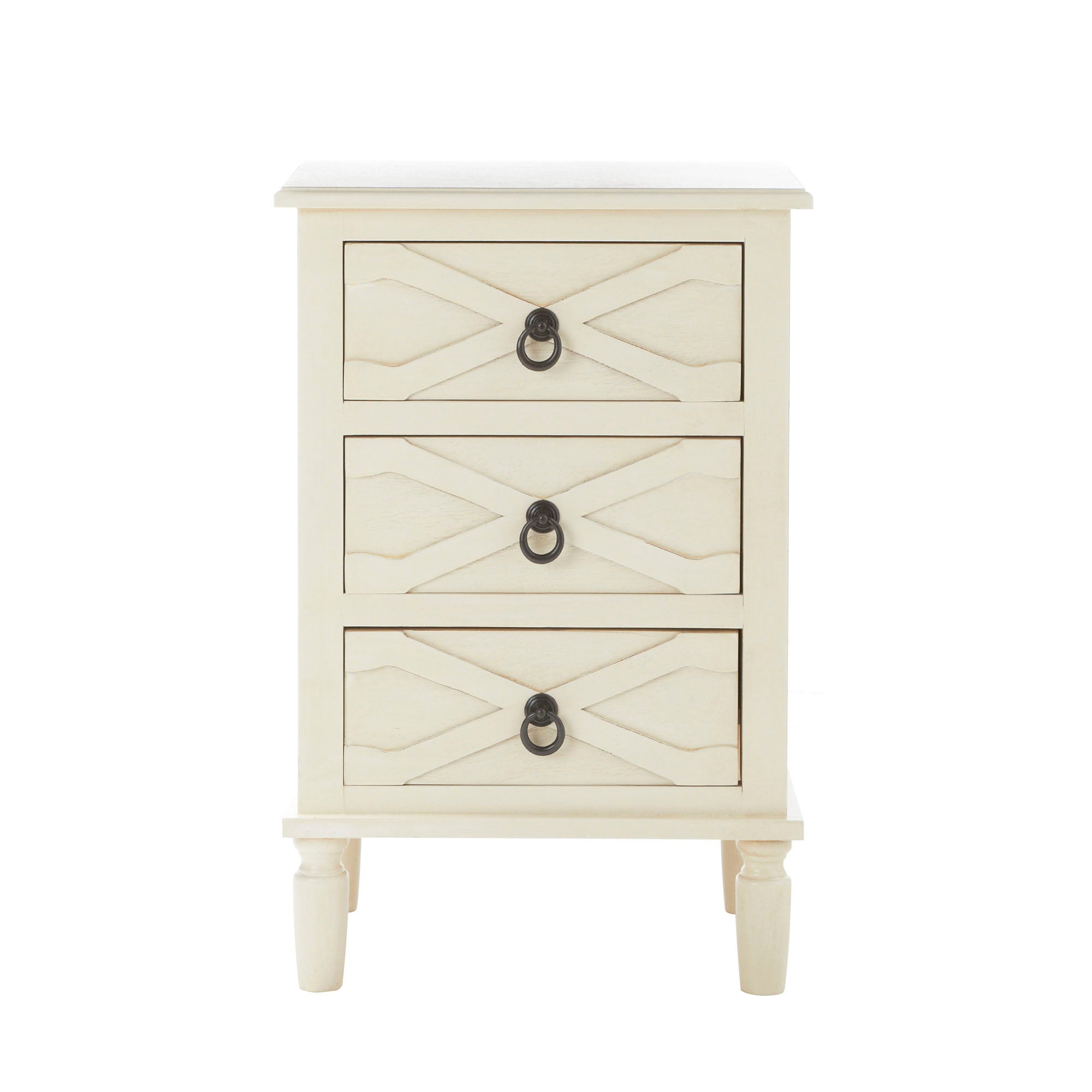 Pennsylvania Cream 3 Drawer Bedside Table