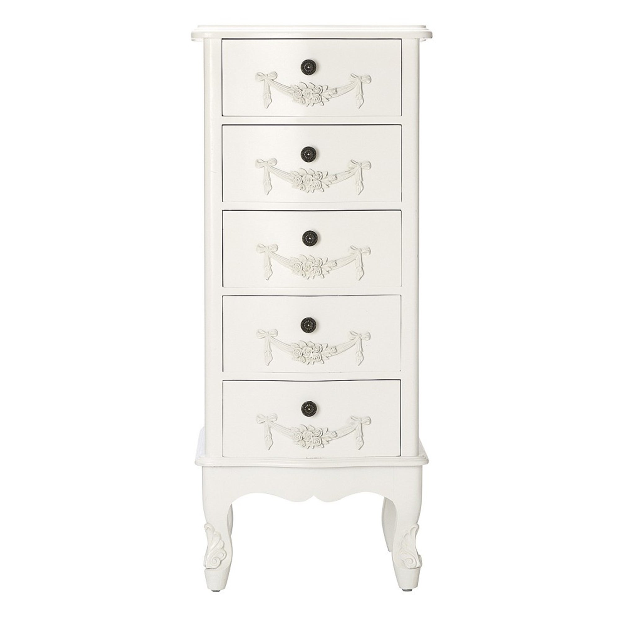 Toulouse White 5 Drawer Tallboy