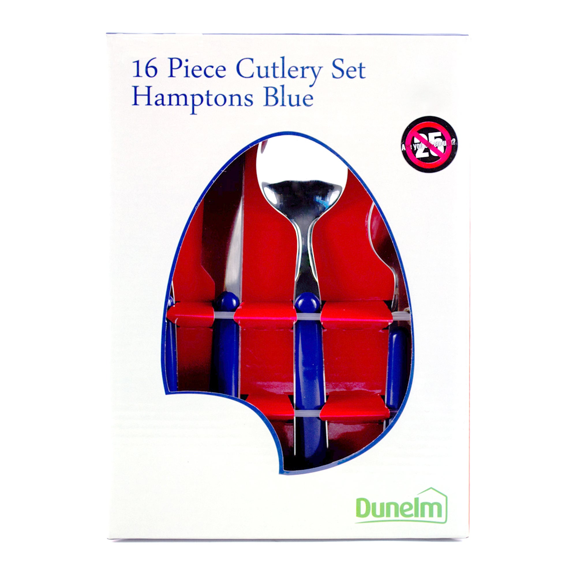 The Hamptons Collection 16 Piece Blue Cutlery Set