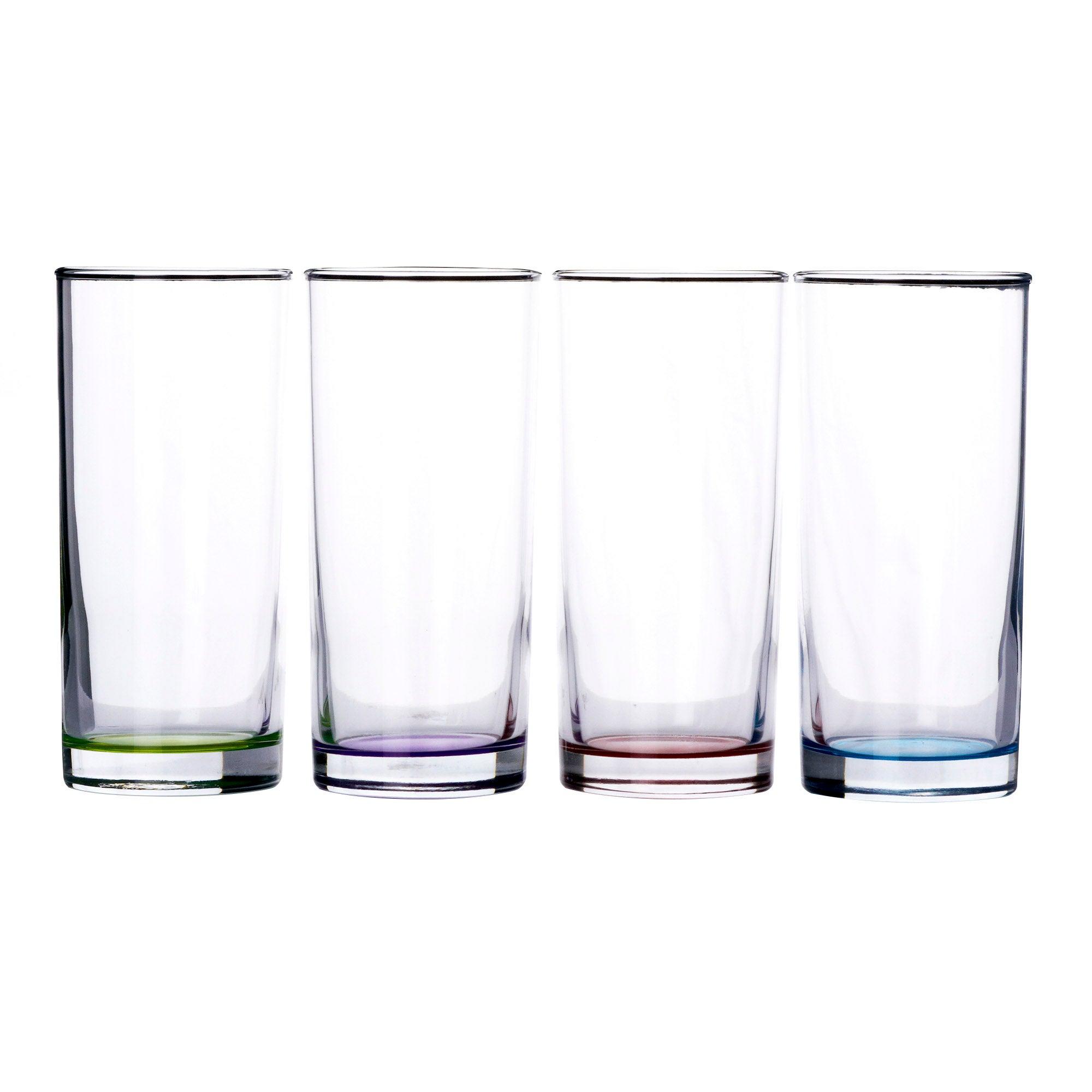 4 Hi-Ball Tumbler Glasses With Sprayed Base