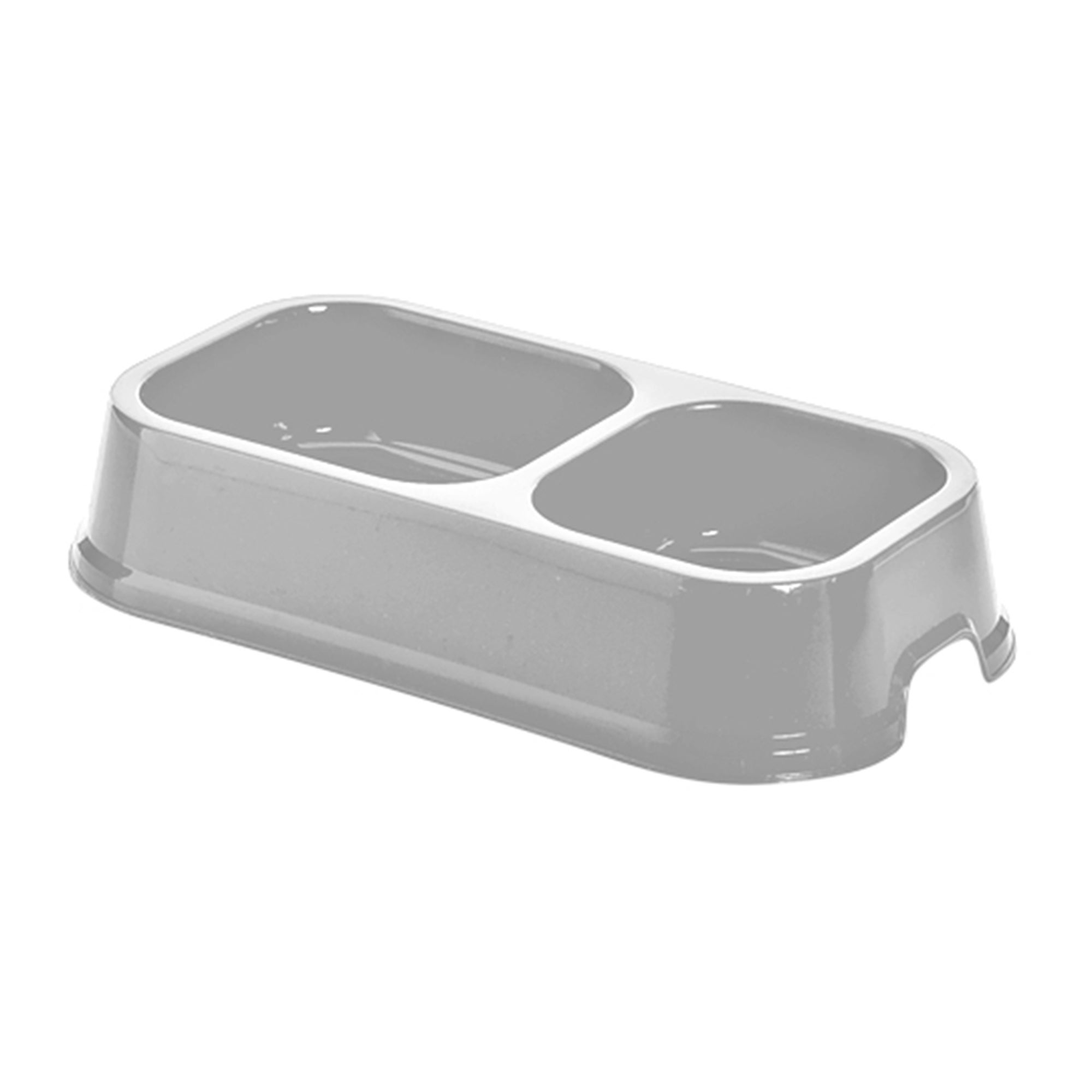 Simply Plastic Silver Twin Pet Bowl